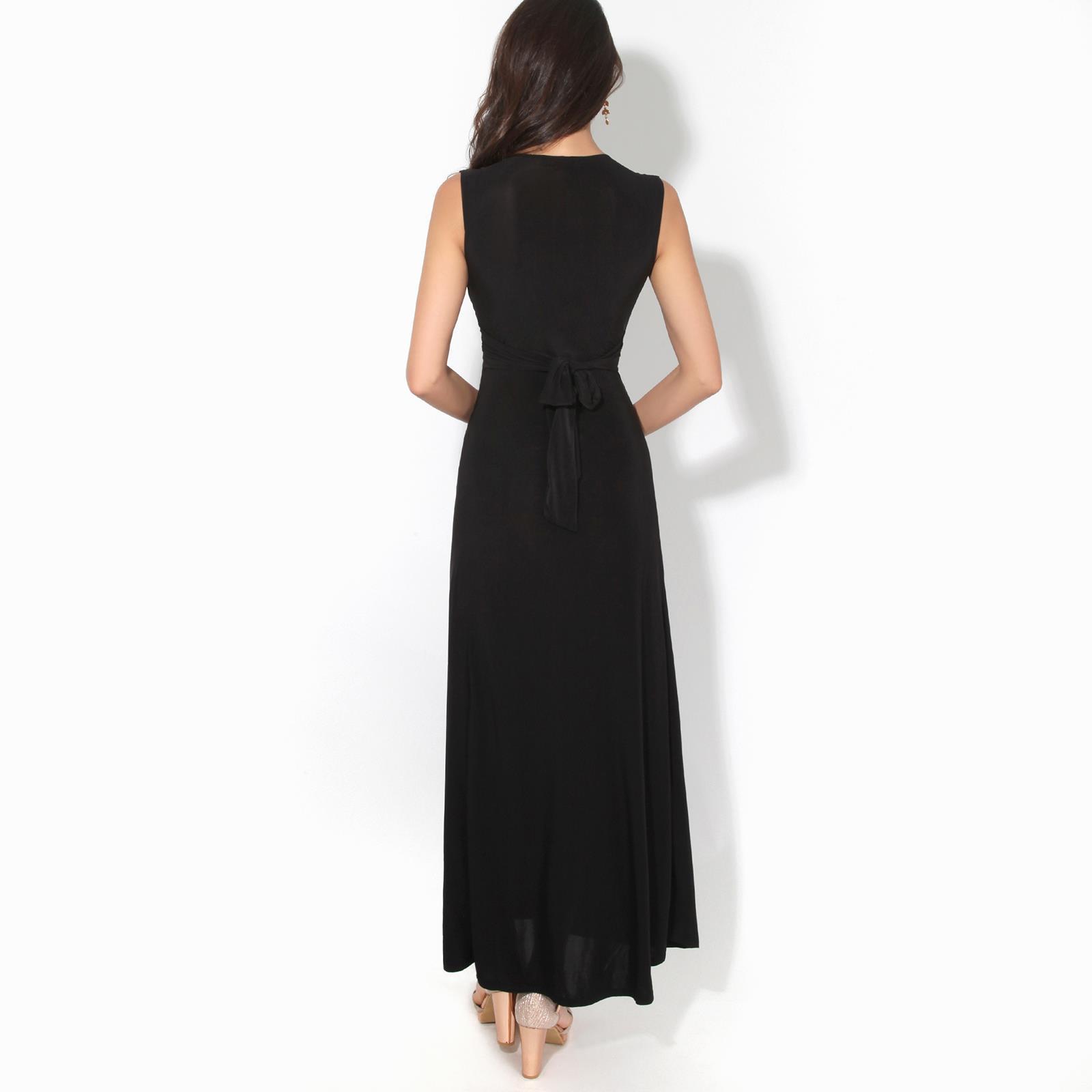 Womens-Ladies-Boho-Long-Maxi-Dress-Knot-V-Neck-Sleeveless-Pleated-Summer-Party thumbnail 7