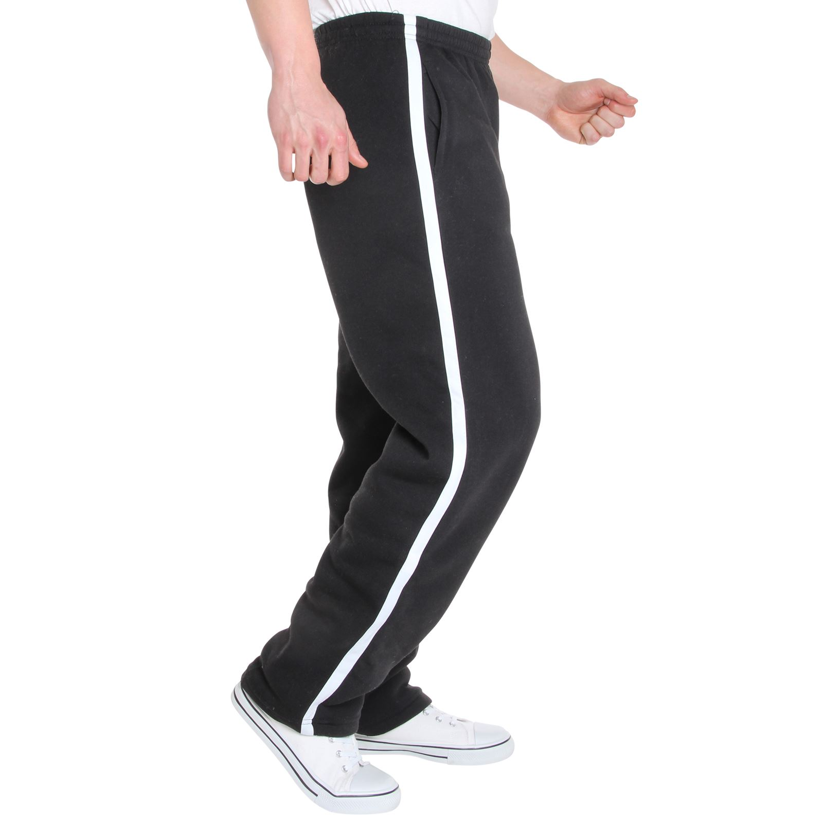 Mens-Tracksuit-Bottoms-Striped-Joggers-Jogging-Trousers-Fleece-Pants-Casual-Work thumbnail 9