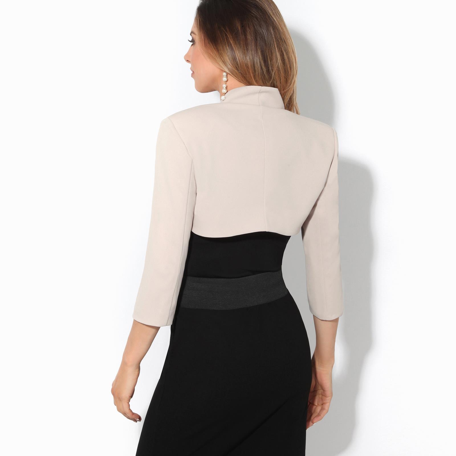 Womens-Tailored-Bolero-Shrug-Cropped-Top-Short-Sleeve-Party-Blazer-Jacket-Coat thumbnail 22