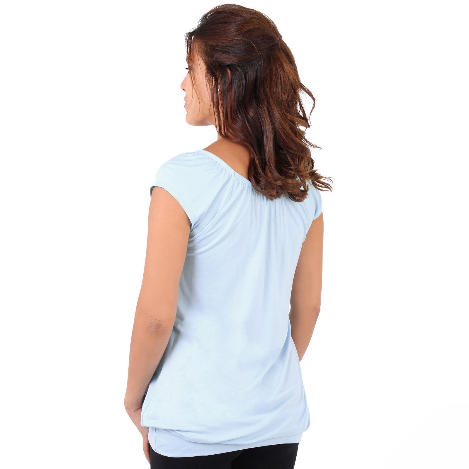 Womens-Ladies-Plain-T-Shirt-Short-Sleeve-Long-Loose-V-Neck-Blouse-Tunic-Top thumbnail 5