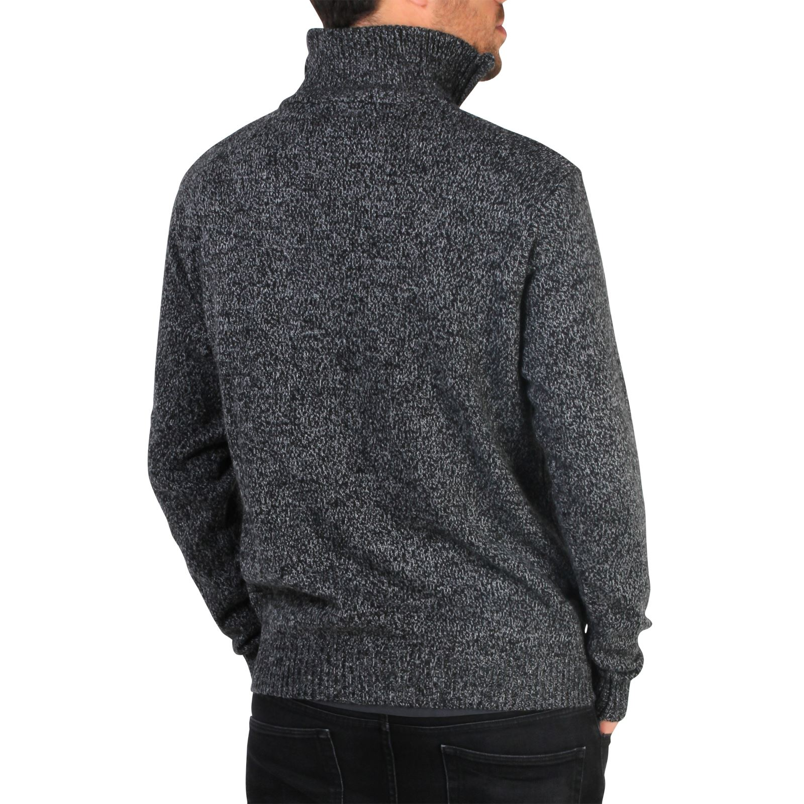 Mens-Soft-Wool-Knit-Half-Zip-Funnel-Neck-Jumper-Sweater-Top-Grandad-Pullover-Top thumbnail 3