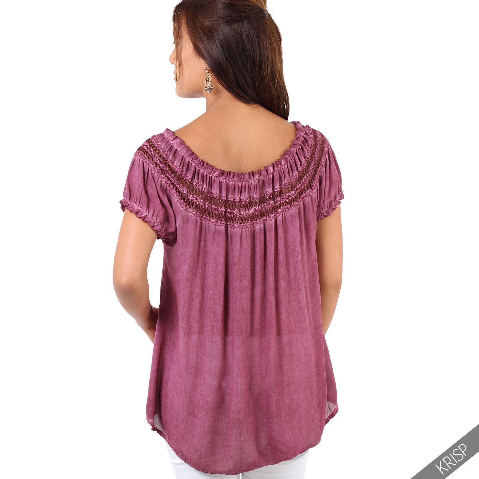 Womens-Off-Shoulder-Blouse-Gypsy-Boho-Cotton-T-Shirt-Top-Tunic-Summer-Loose-Fit thumbnail 17