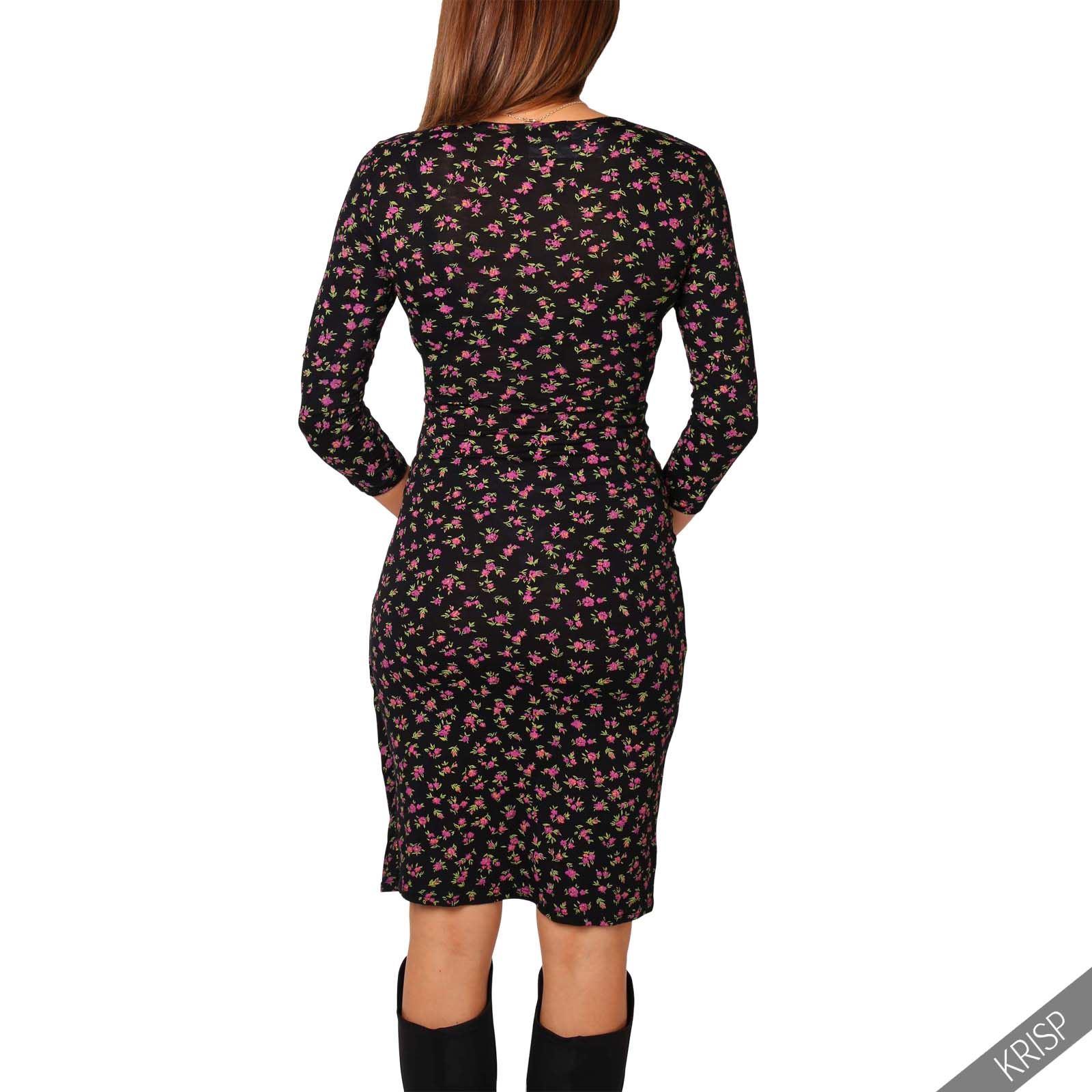 damen knielanges wickelkleid midi kleid v ausschnitt gro e gr en 36 46 ebay. Black Bedroom Furniture Sets. Home Design Ideas