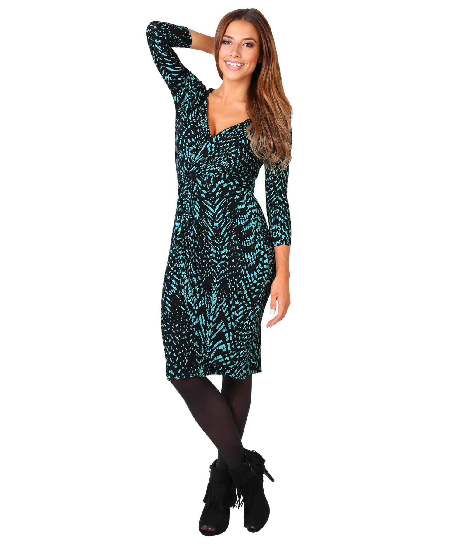 Womens-V-Neck-Dress-Top-Bodycon-Skirt-Midi-Snakeskin-Print-Cross-Over-Party-Wrap thumbnail 18
