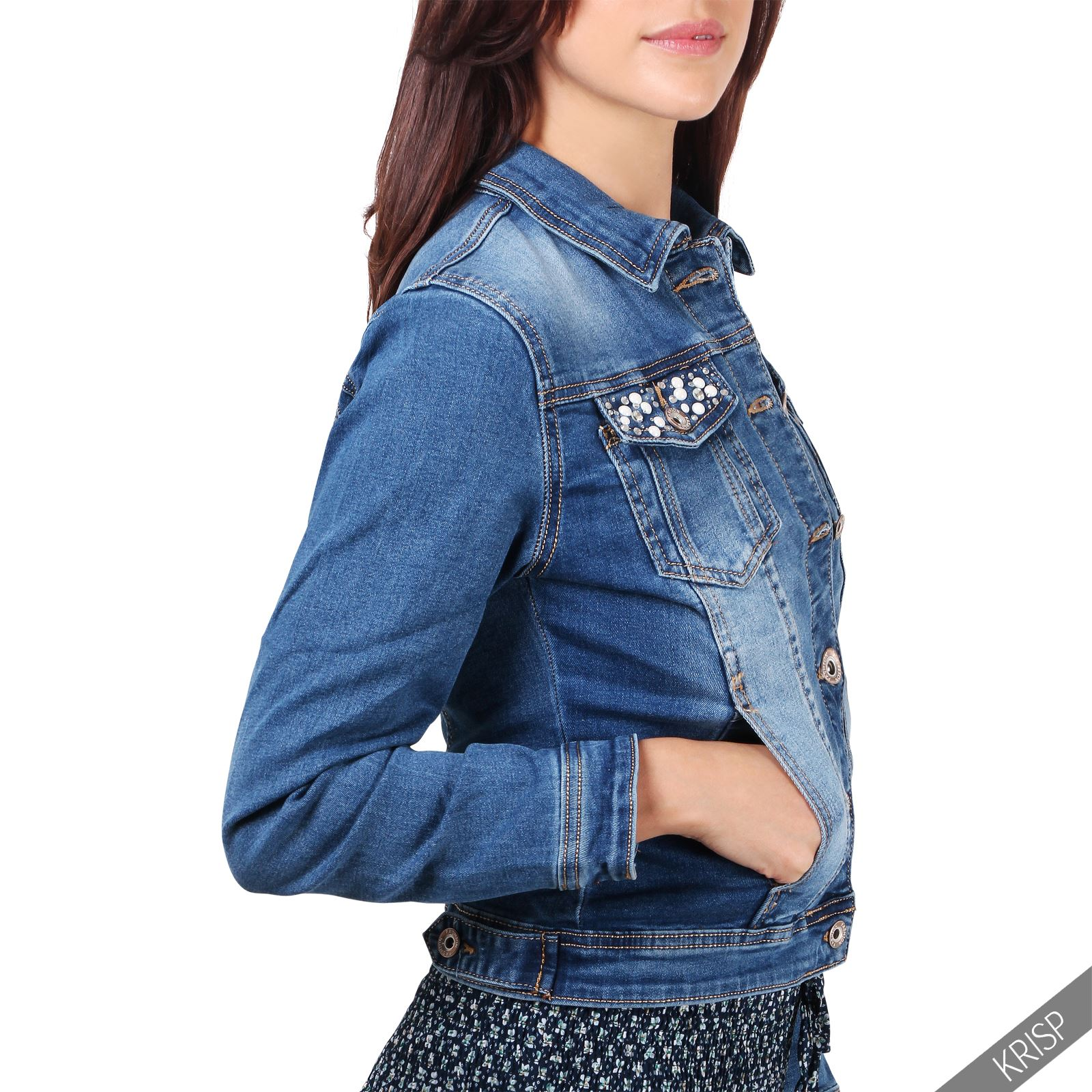damen jeansjacke mit patches bergang jacke kurze denim weste elegant tailliert ebay. Black Bedroom Furniture Sets. Home Design Ideas