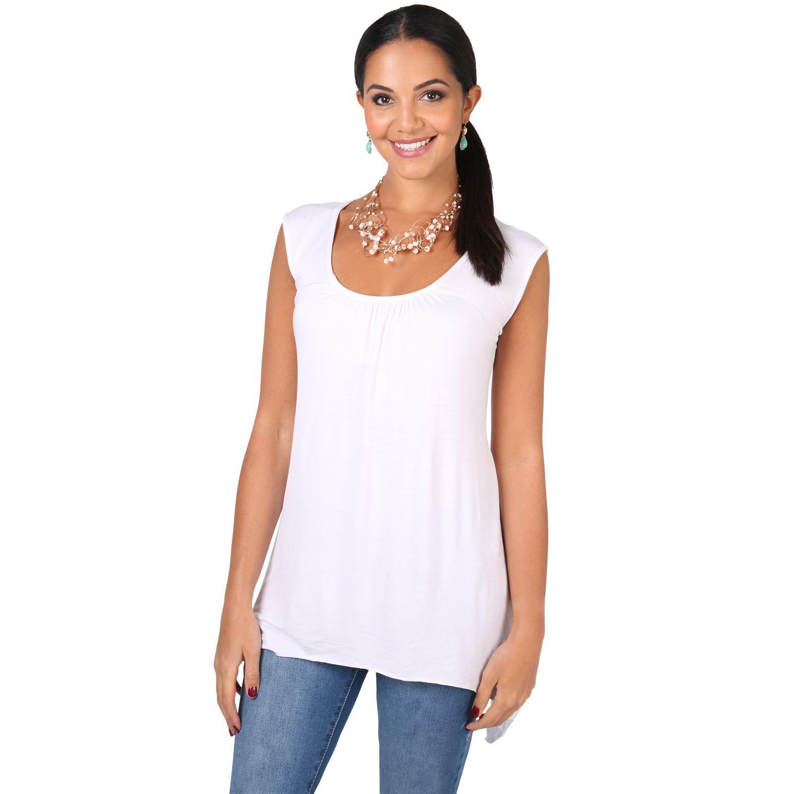women long top sleeveless pleated tee shirt tunic jersey