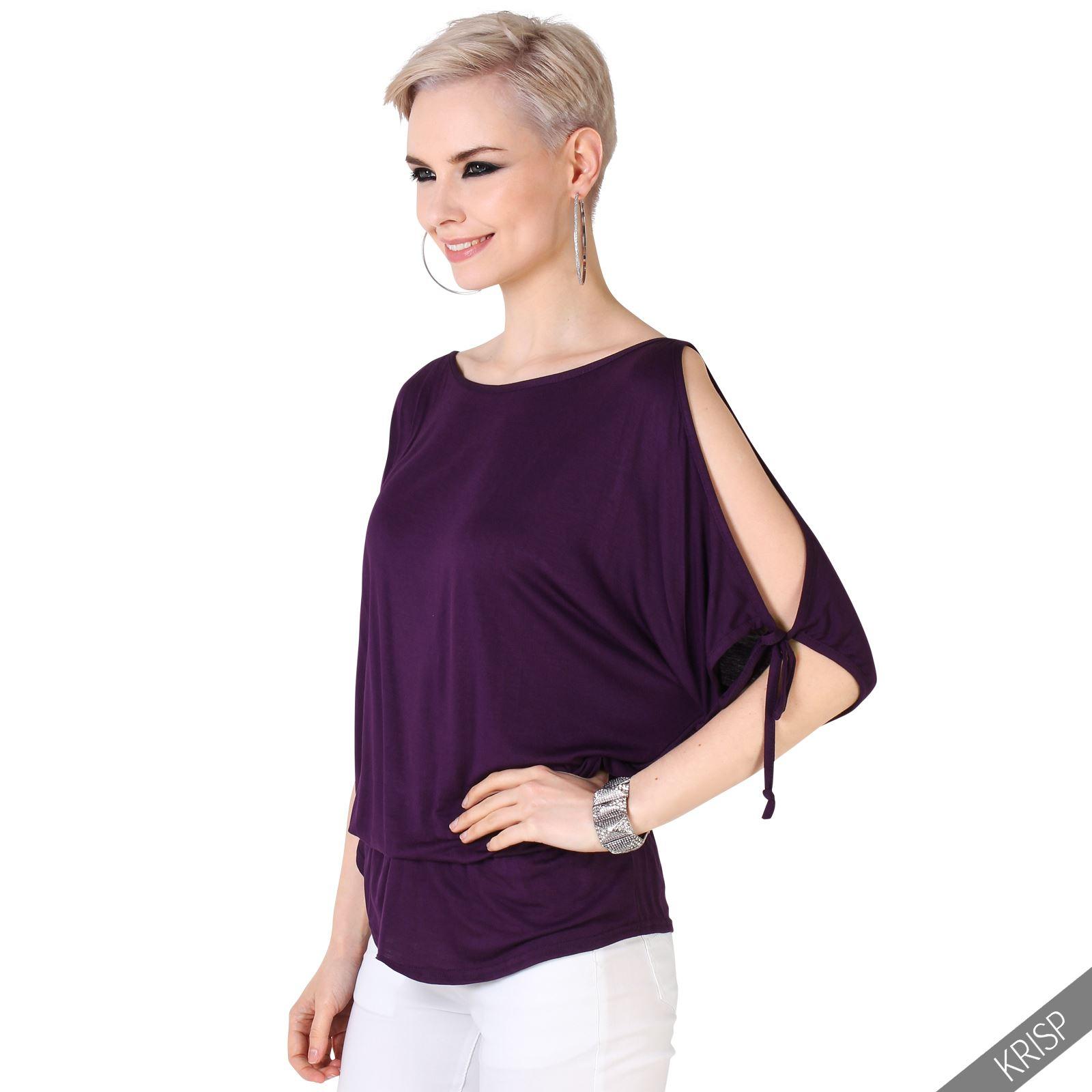 KRISP Women Batwing Cut Out Off Shoulder Top Ladies Oversized Long ...