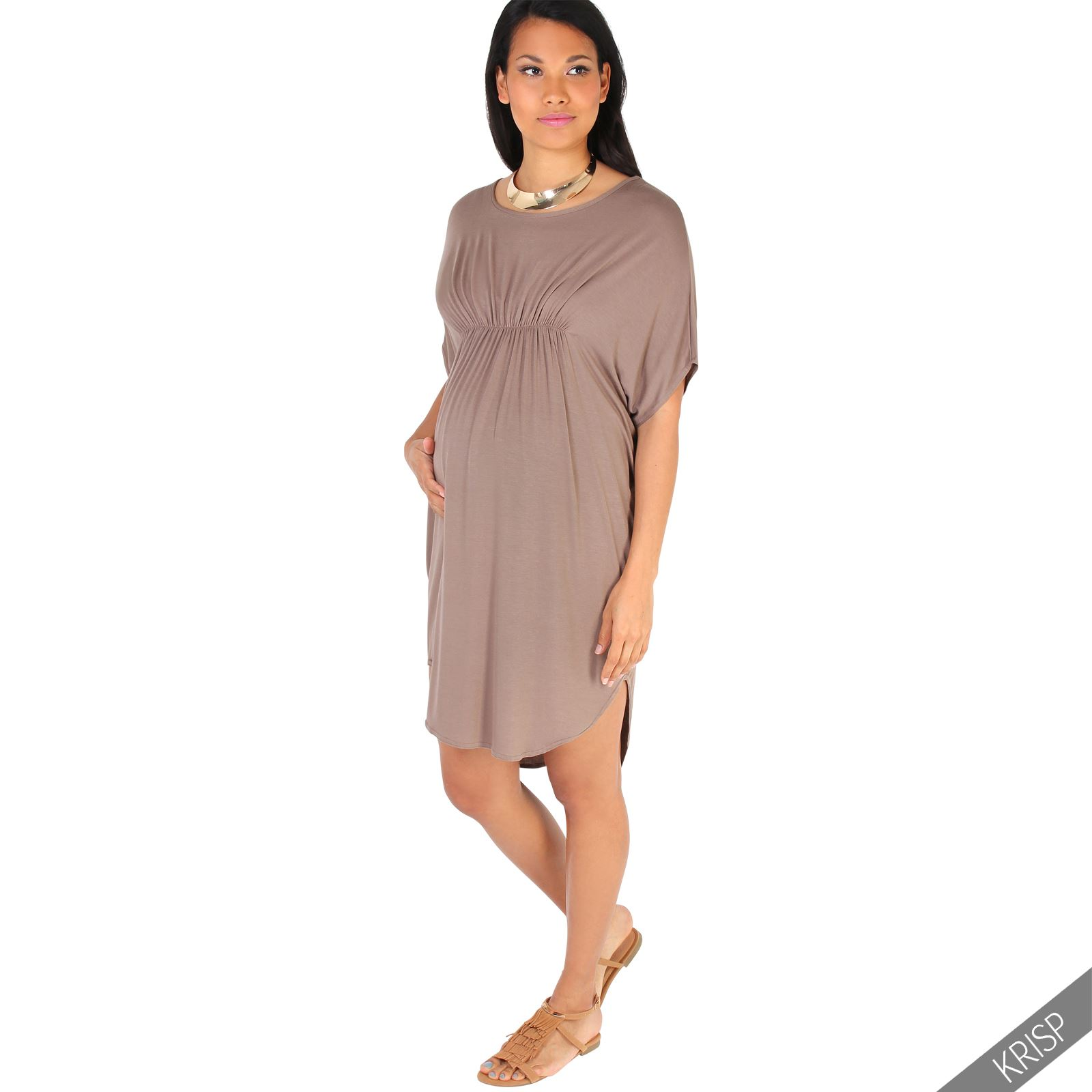 Maternity-Dress-Empire-Line-Top-Long-Loose-T-Shirt-Batwing-Tunic-Pregnancy-Plus thumbnail 10