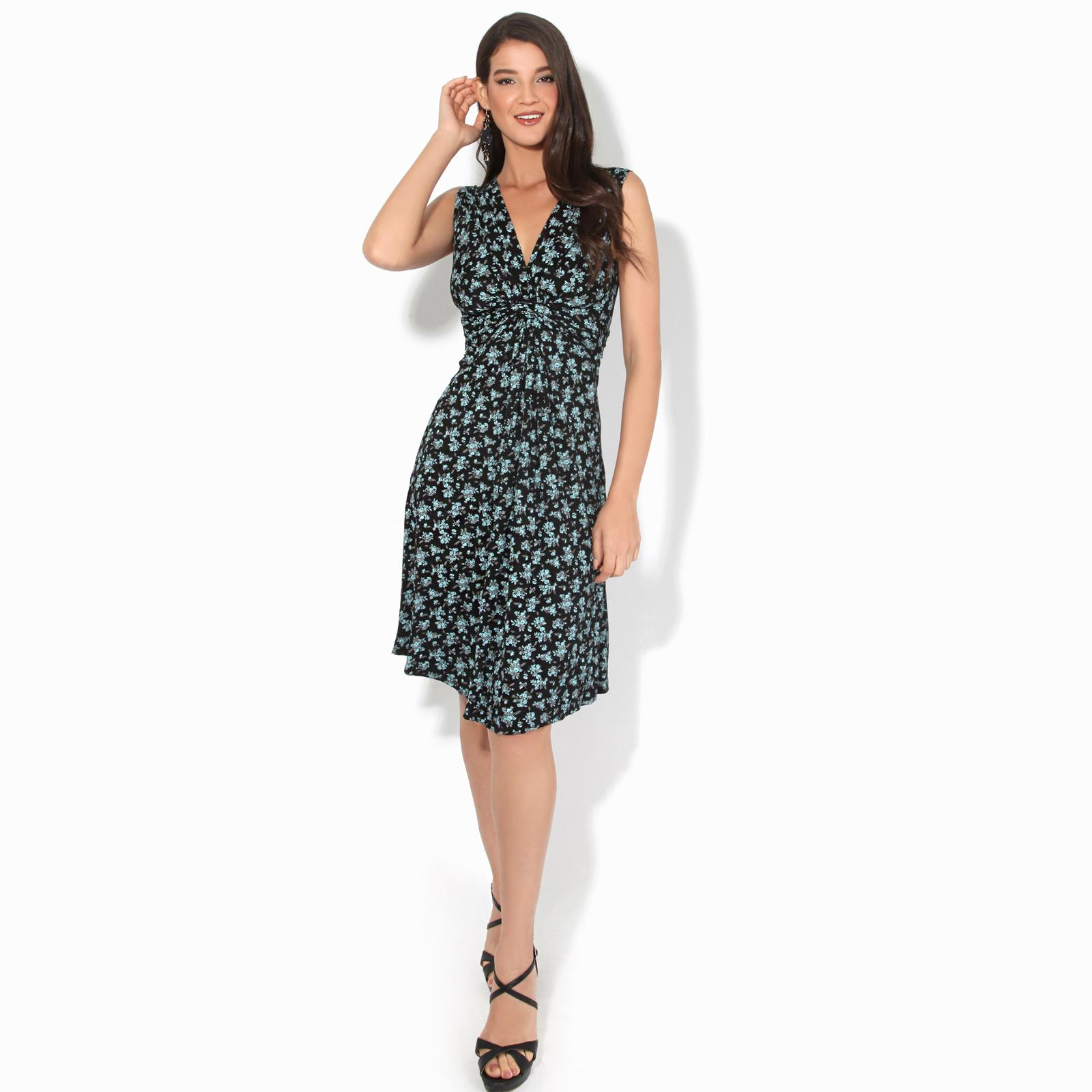 Women-Ladies-Floral-Midi-Dress-Pattern-Sleeveless-V-Neck-Stretch-Casual-Sundress thumbnail 3