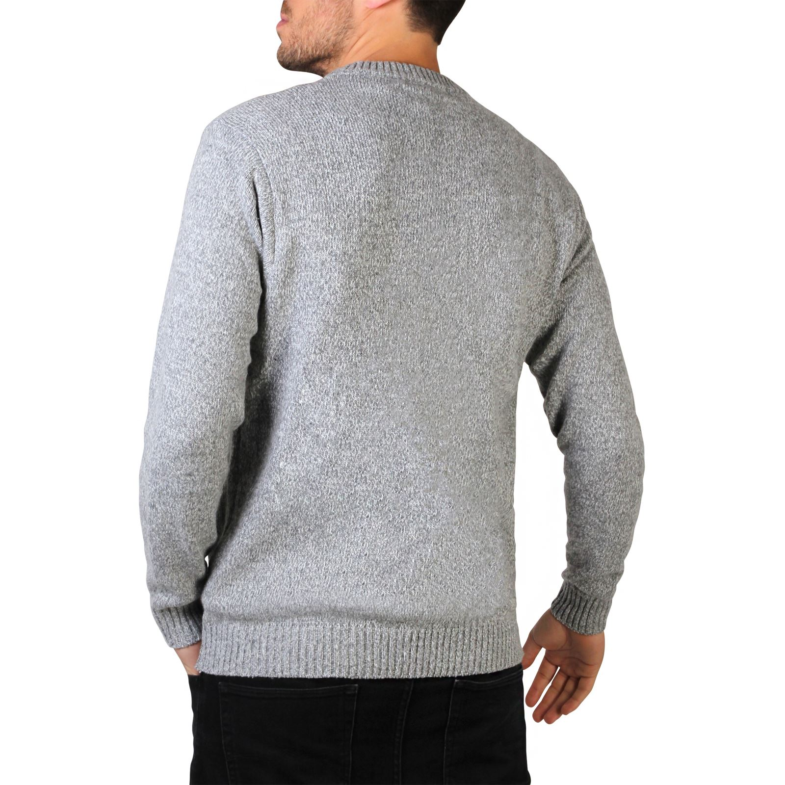 Mens-Soft-Knitted-Round-Crew-Neck-Warm-Jumper-Sweater-Grandad-Pullover-Top thumbnail 7
