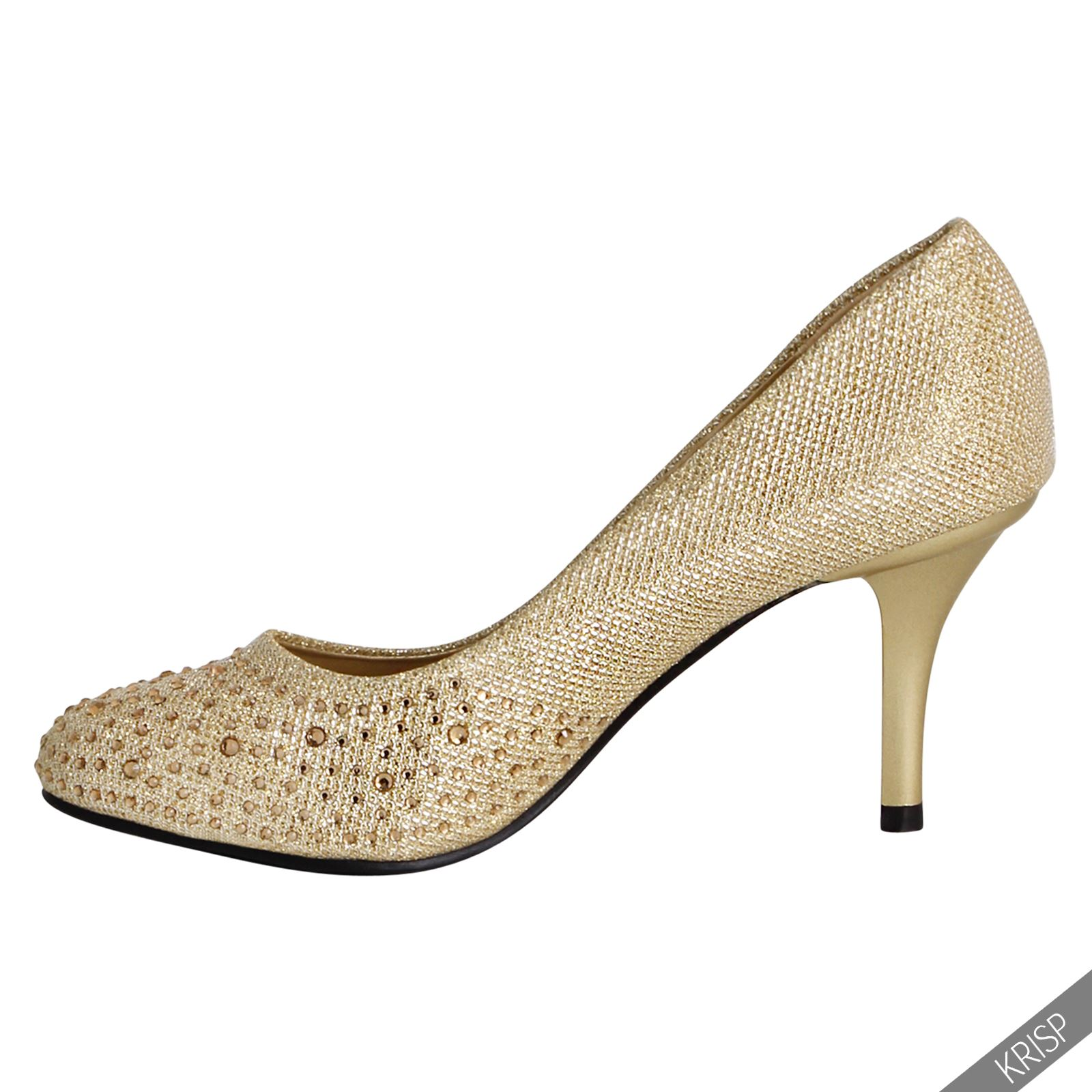 glitter diamante mid high heel prom wedding