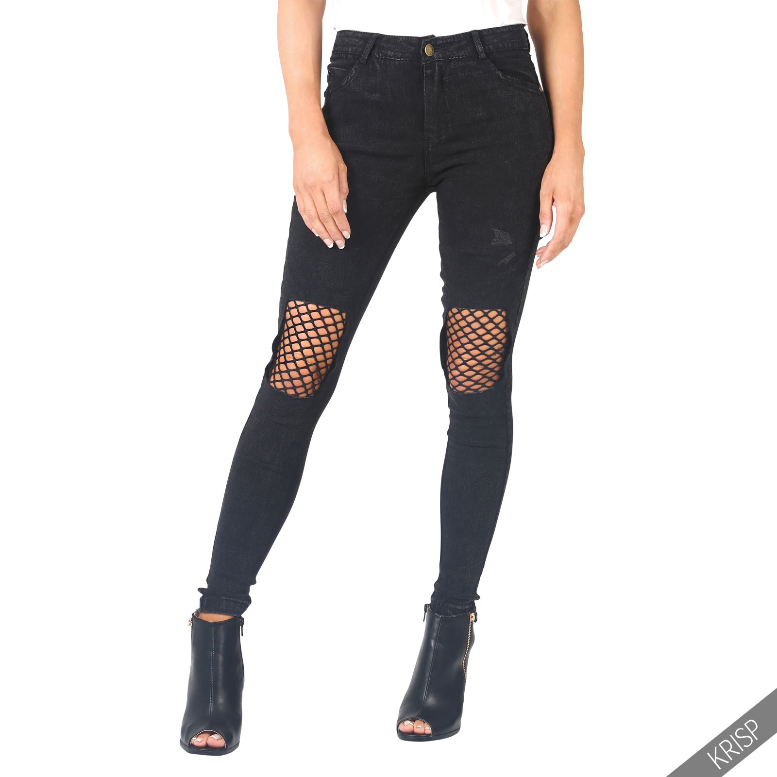 skinny jeans with cut knees super jeans in dieser saison. Black Bedroom Furniture Sets. Home Design Ideas