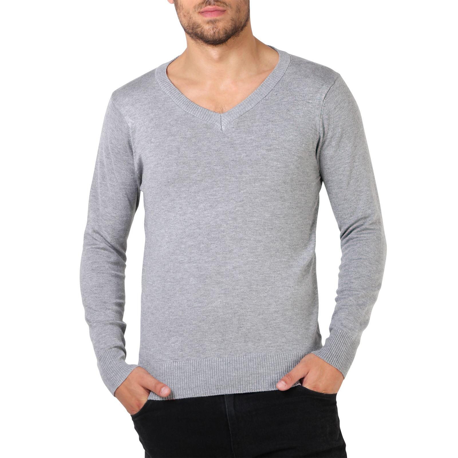 Mens-Soft-Cotton-Knit-Plain-V-Neck-Fashion-Jumper-Knitwear-Sweater-Pullover-Work