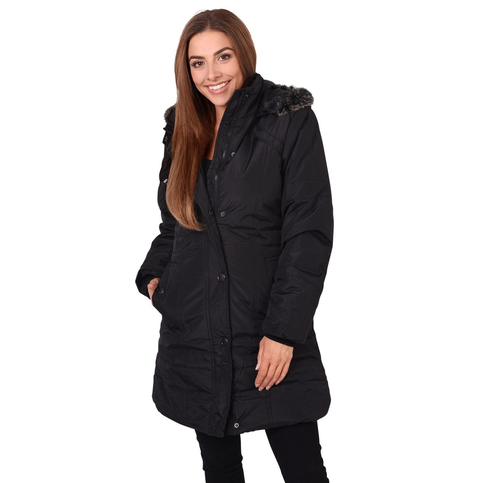 femmes manteau doudoune blouson jacket capuche fausse fourrure chaud hiver ski ebay. Black Bedroom Furniture Sets. Home Design Ideas