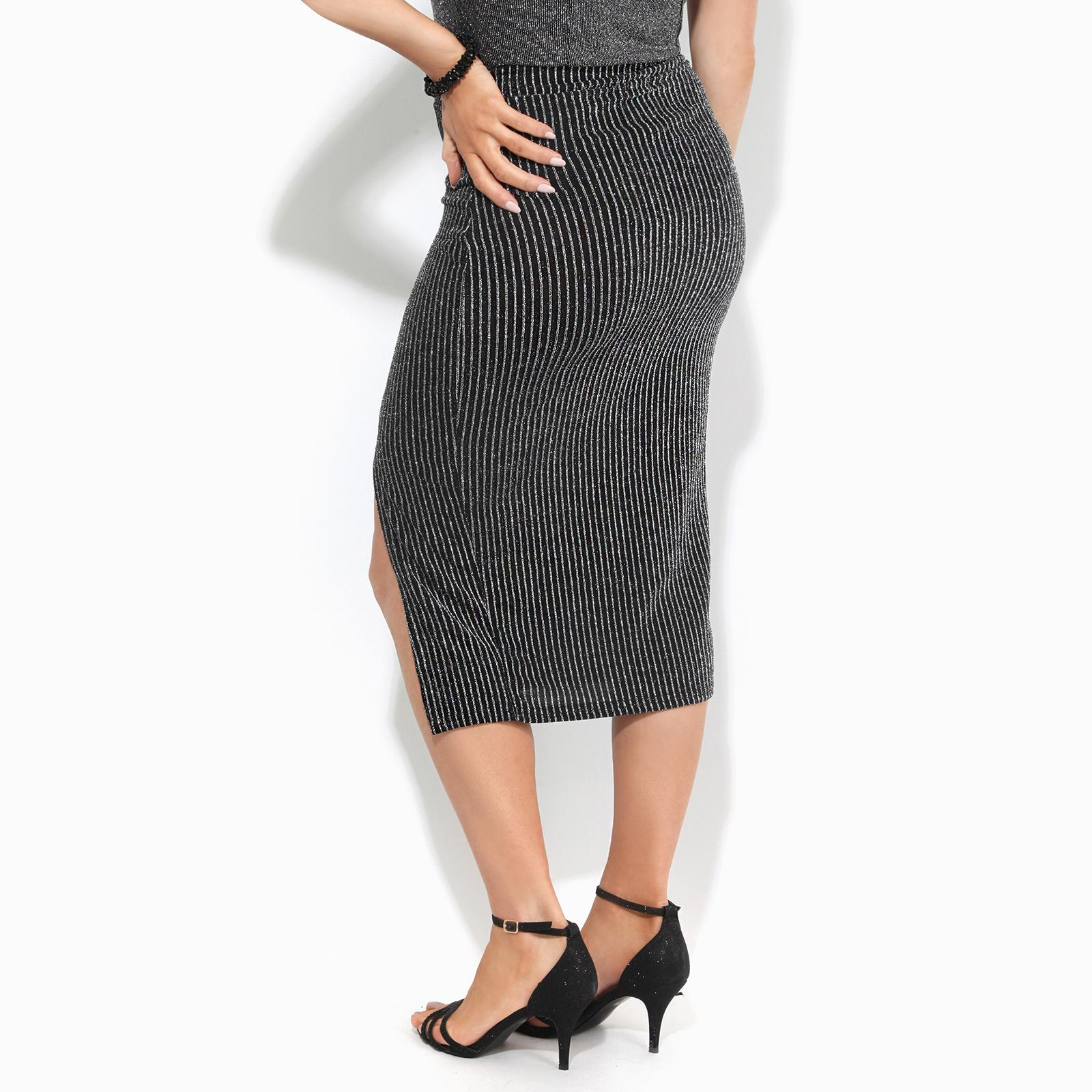 Womens-Ladies-Front-Slit-Lurex-Pencil-Skirt-Midi-Stripe-Pattern-Party-Evening thumbnail 3