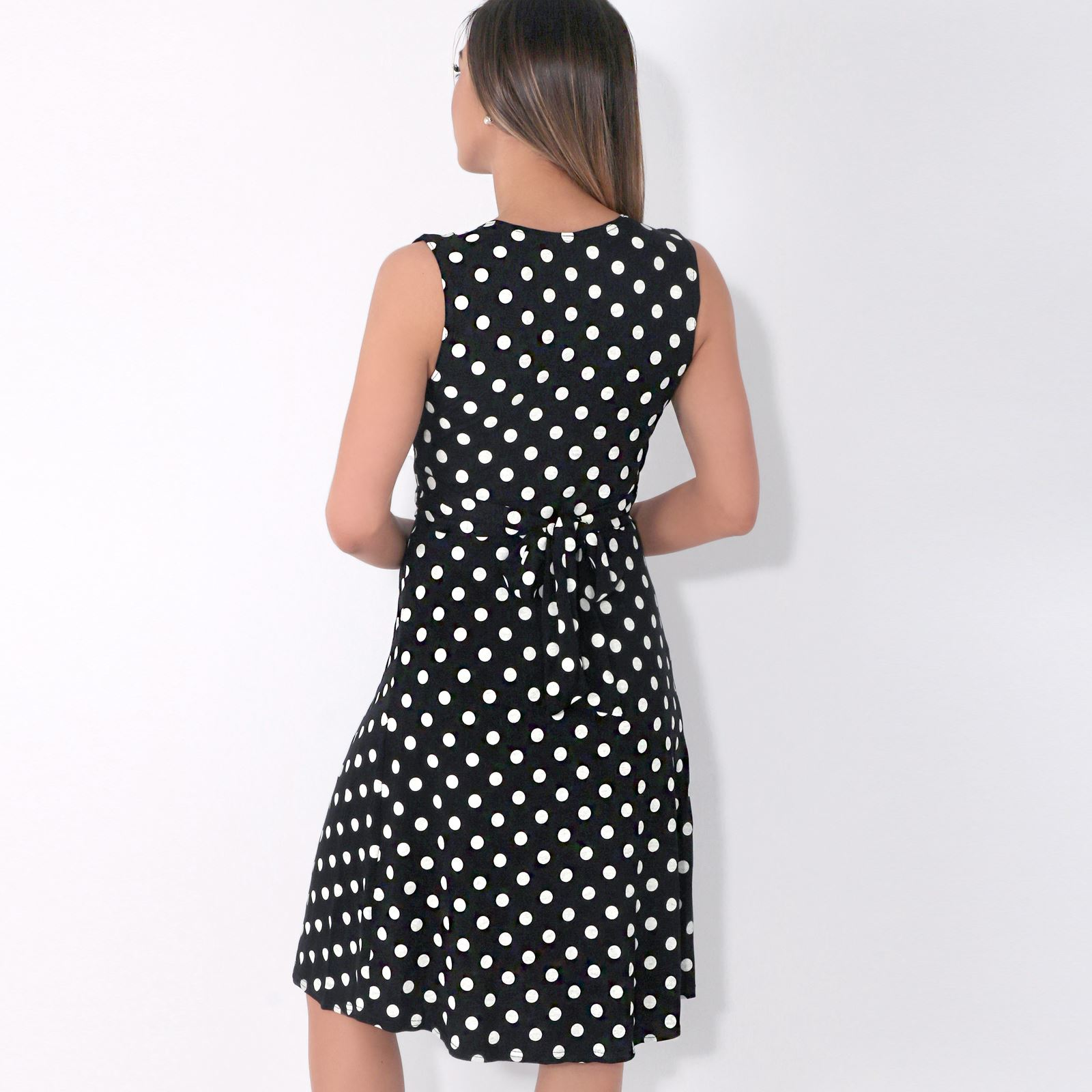 Womens-Dot-Print-Dress-Retro-Vintage-Pleated-Mini-V-Neck-Wrap-Top-Swing-Party thumbnail 4
