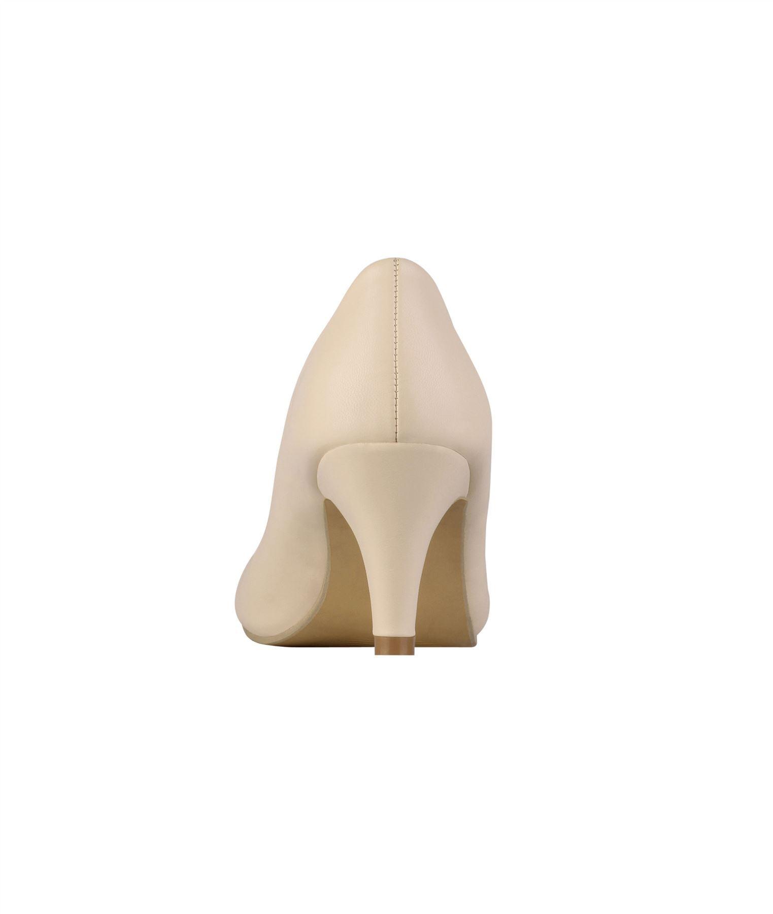 Womens-Ladies-Mid-Heel-Court-Shoes-Slip-On-Low-Kitten-Heels-Pumps-Matte-Size-3-8 thumbnail 5