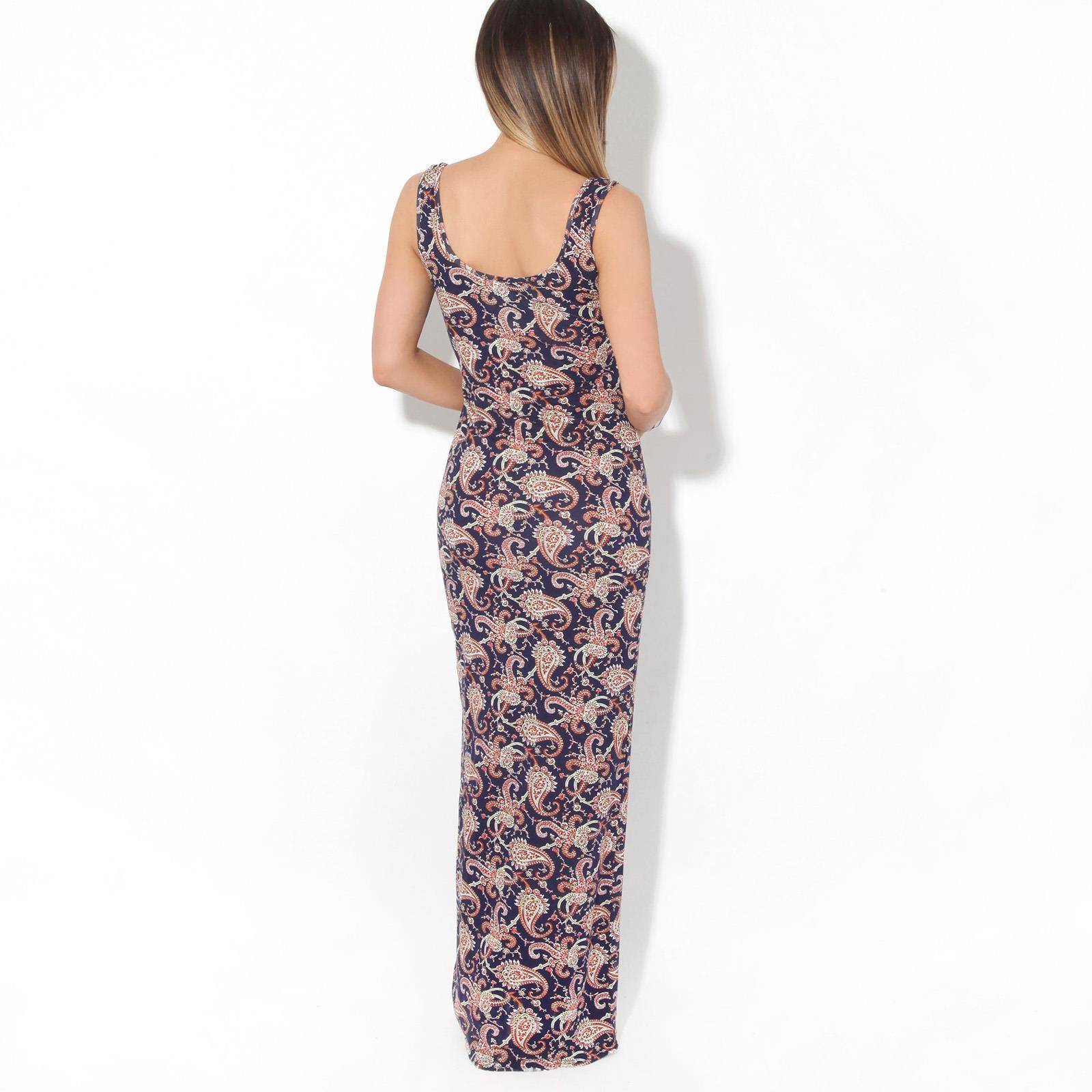 Womens-Ladies-Floral-Bodycon-Maxi-Long-Sun-Dress-Sleeveless-Pattern-Summer-Beach thumbnail 7
