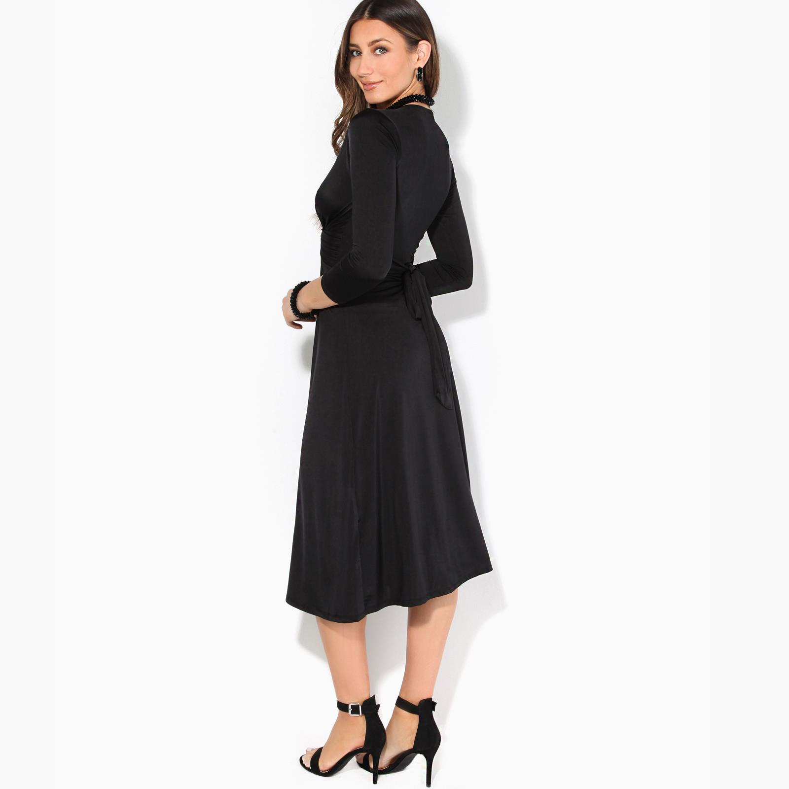 Women-Ladies-V-Neck-Midi-Dress-Knee-Long-A-Line-Skirt-3-4-Sleeve-Knot-Party-Work thumbnail 4