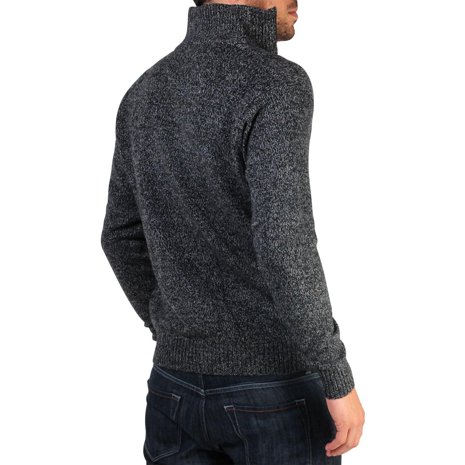 Mens-Wool-Jumper-Winter-Sweater-Zip-Up-Funnel-Neck-Soft-Knit-Cardigan-Top thumbnail 3