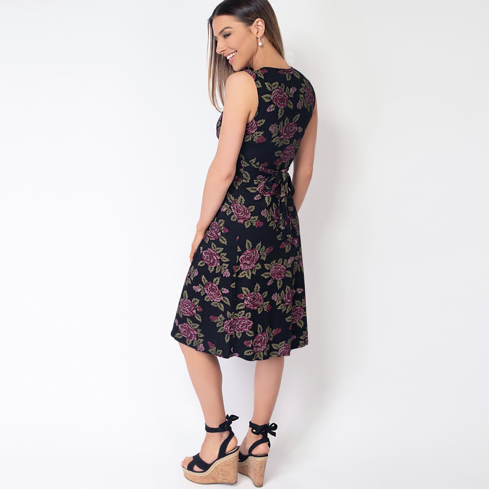Womens-Floral-Print-Dress-Midi-Drape-Ruched-Front-Knot-Tie-Belt-Casual-Party thumbnail 4