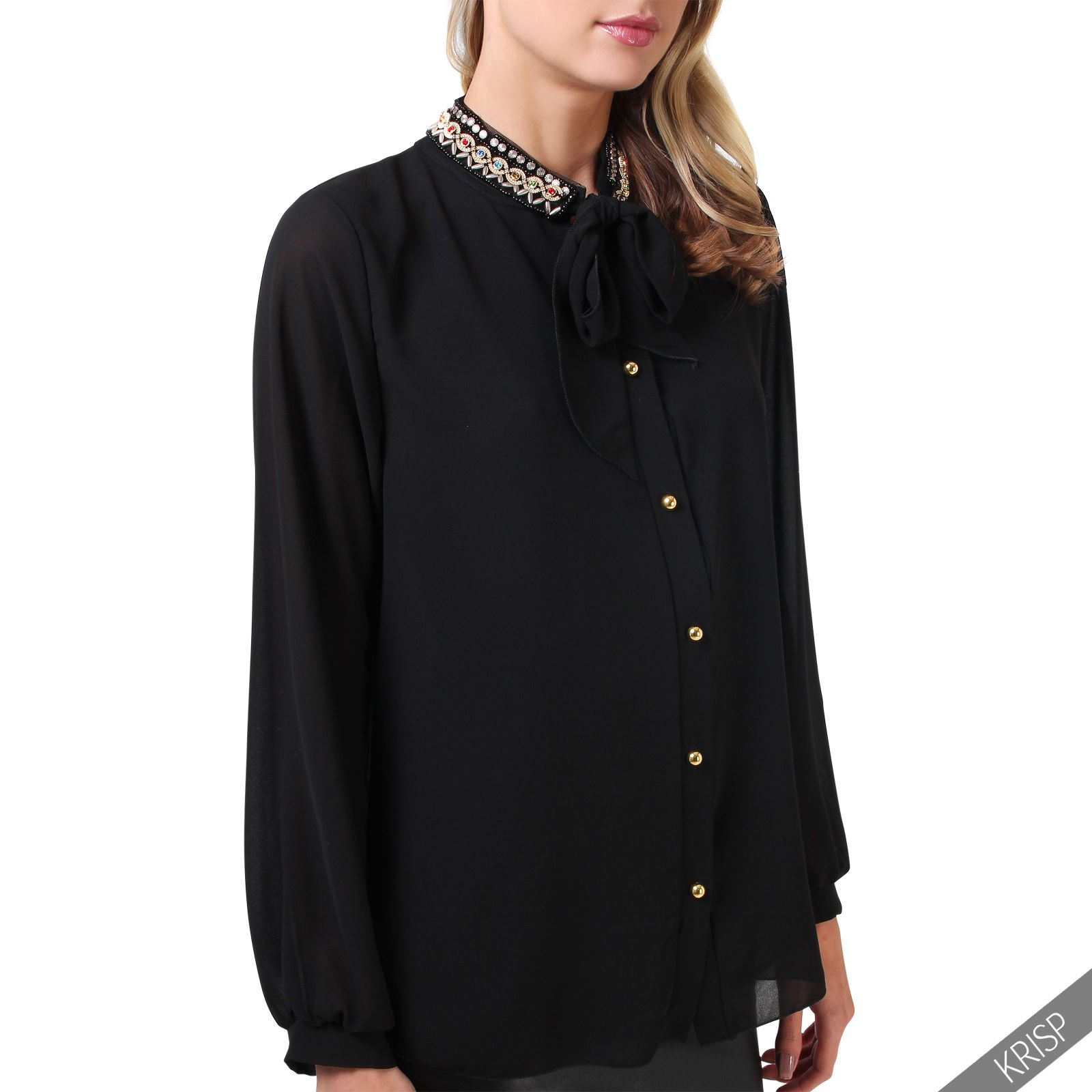 damen elegante chiffon bluse mit schleife schwarz shirt. Black Bedroom Furniture Sets. Home Design Ideas