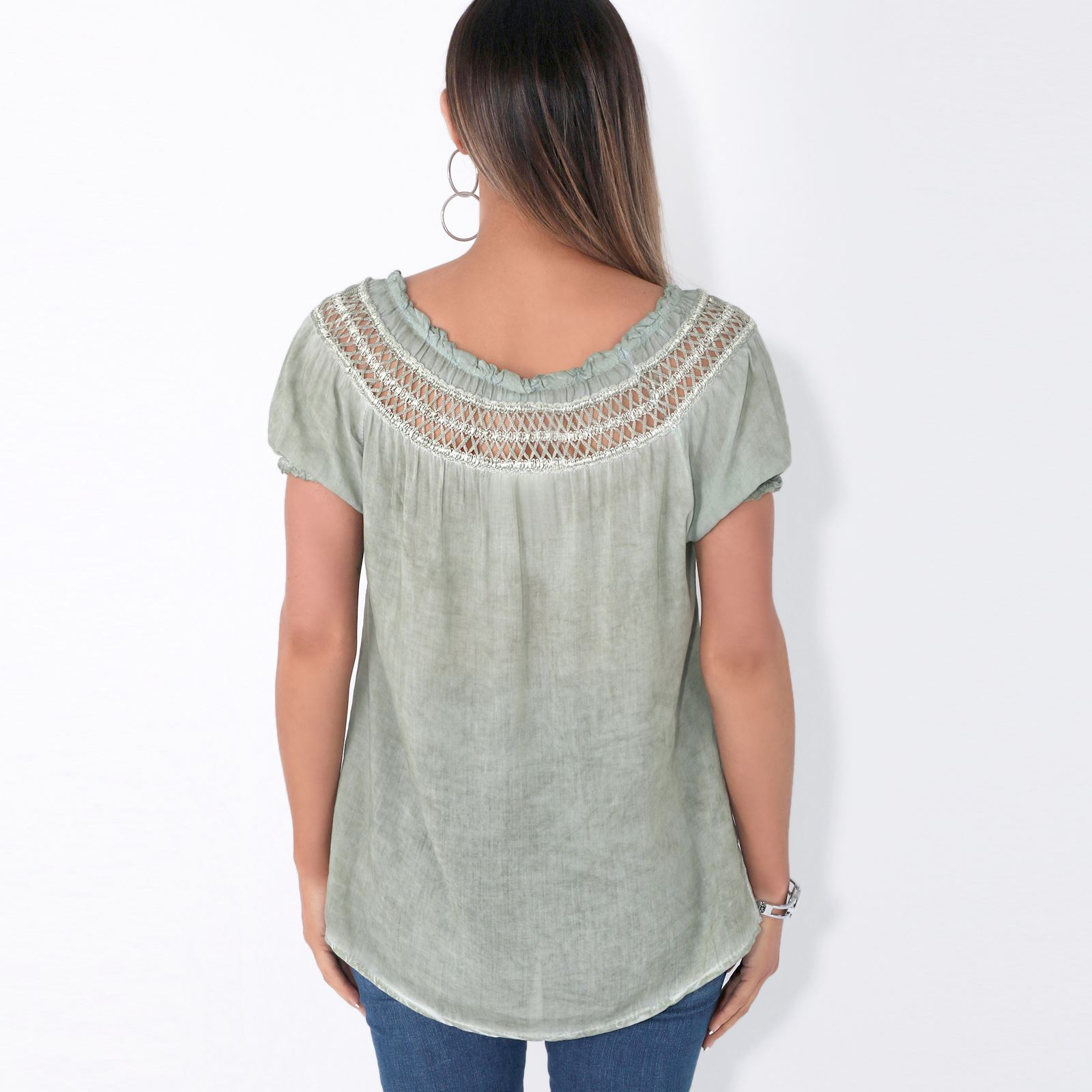 Womens-Off-Shoulder-Blouse-Gypsy-Boho-Cotton-T-Shirt-Top-Tunic-Summer-Loose-Fit thumbnail 9
