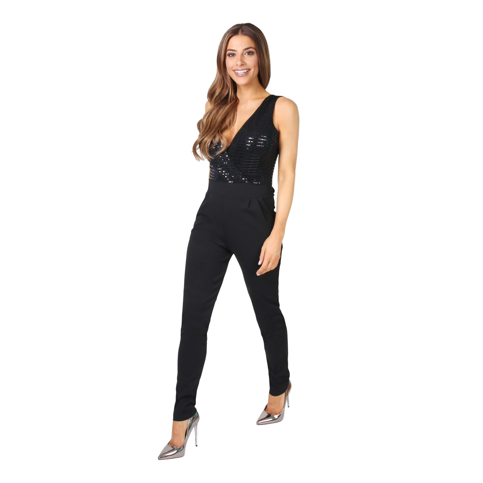 Womens Party Evening Jumpsuit Ladies Sleeveless Plunge Sequin Top Long Playsuit | EBay