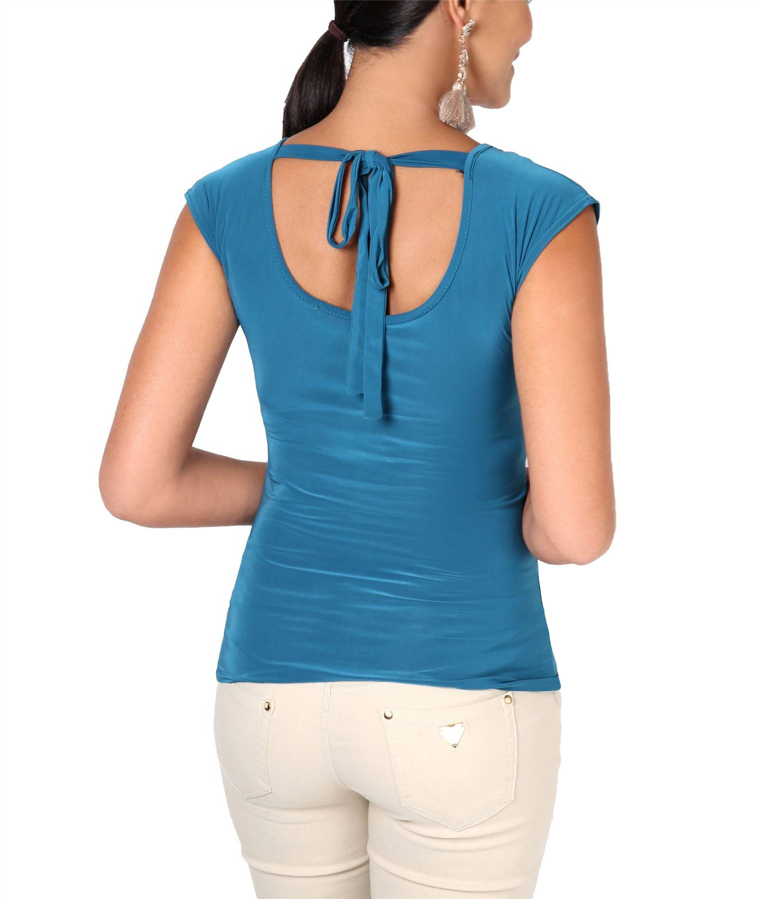 Womens-Ladies-Cowl-Neck-Top-Sleeveless-Silk-Drape-T-Shirt-Low-Cut-Back-Party thumbnail 20