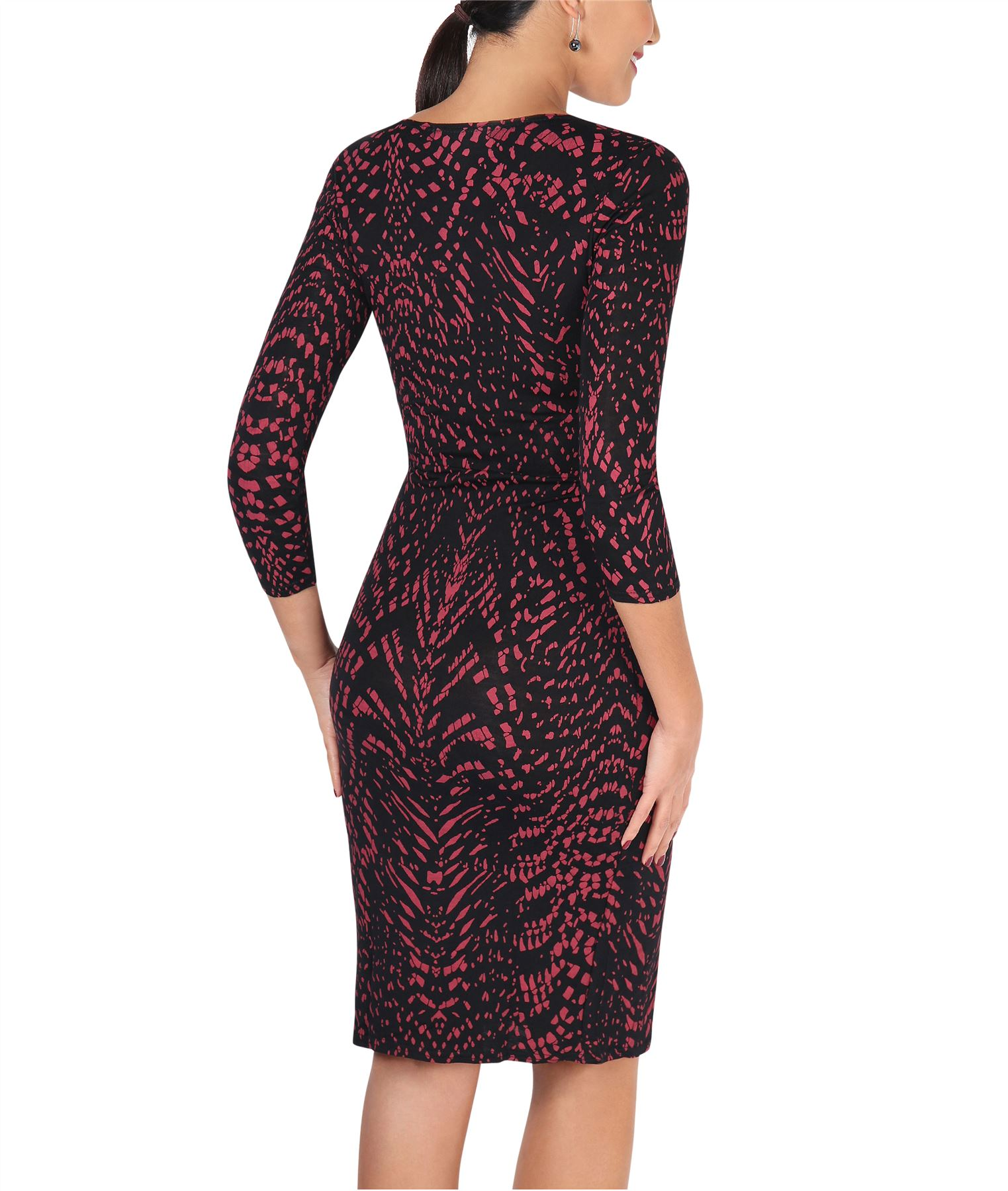 Womens-V-Neck-Dress-Top-Bodycon-Skirt-Midi-Snakeskin-Print-Cross-Over-Party-Wrap thumbnail 25