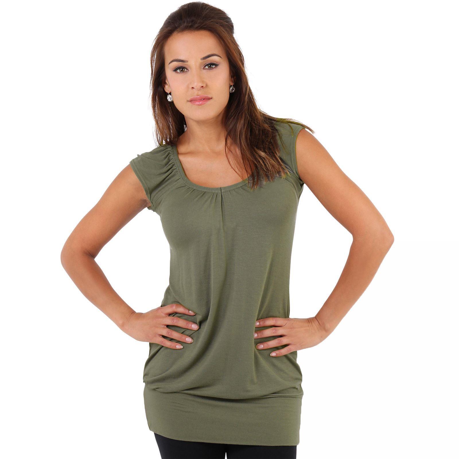Womens-Ladies-Plain-T-Shirt-Short-Sleeve-Long-Loose-V-Neck-Blouse-Tunic-Top thumbnail 25