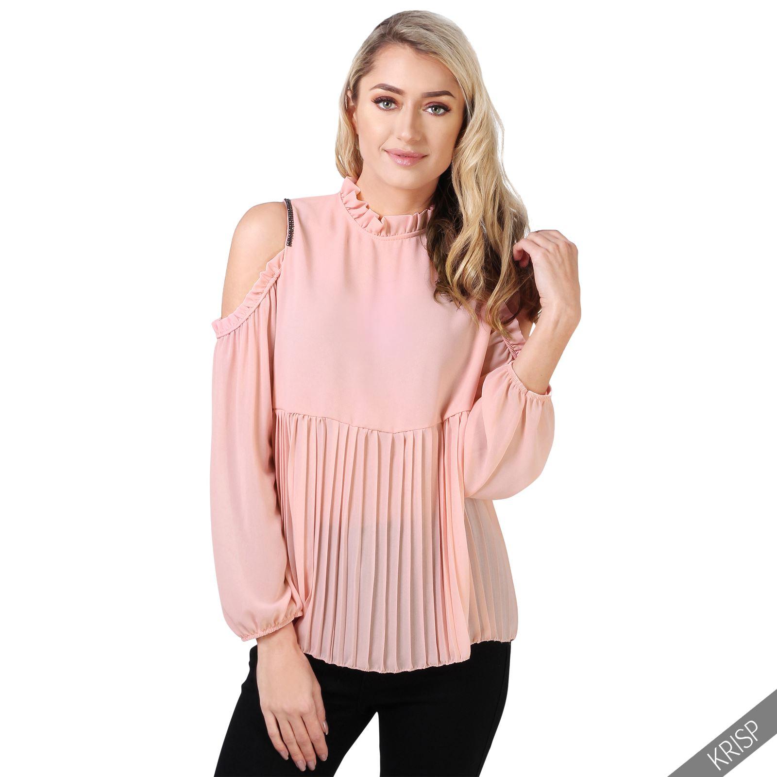 Original Womens Ladies Disco Ruffle Frill Mesh Bell Long Sleeve Pleatead Blouse Top 4-10 | EBay