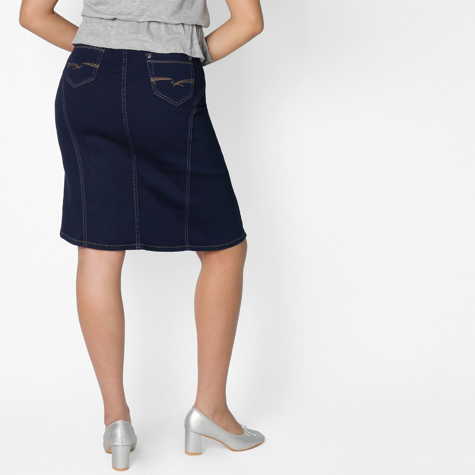Womens-Denim-Pencil-Skirt-Vintage-A-Line-Ladies-Classic-Knee-Long-Size-8-18 thumbnail 8