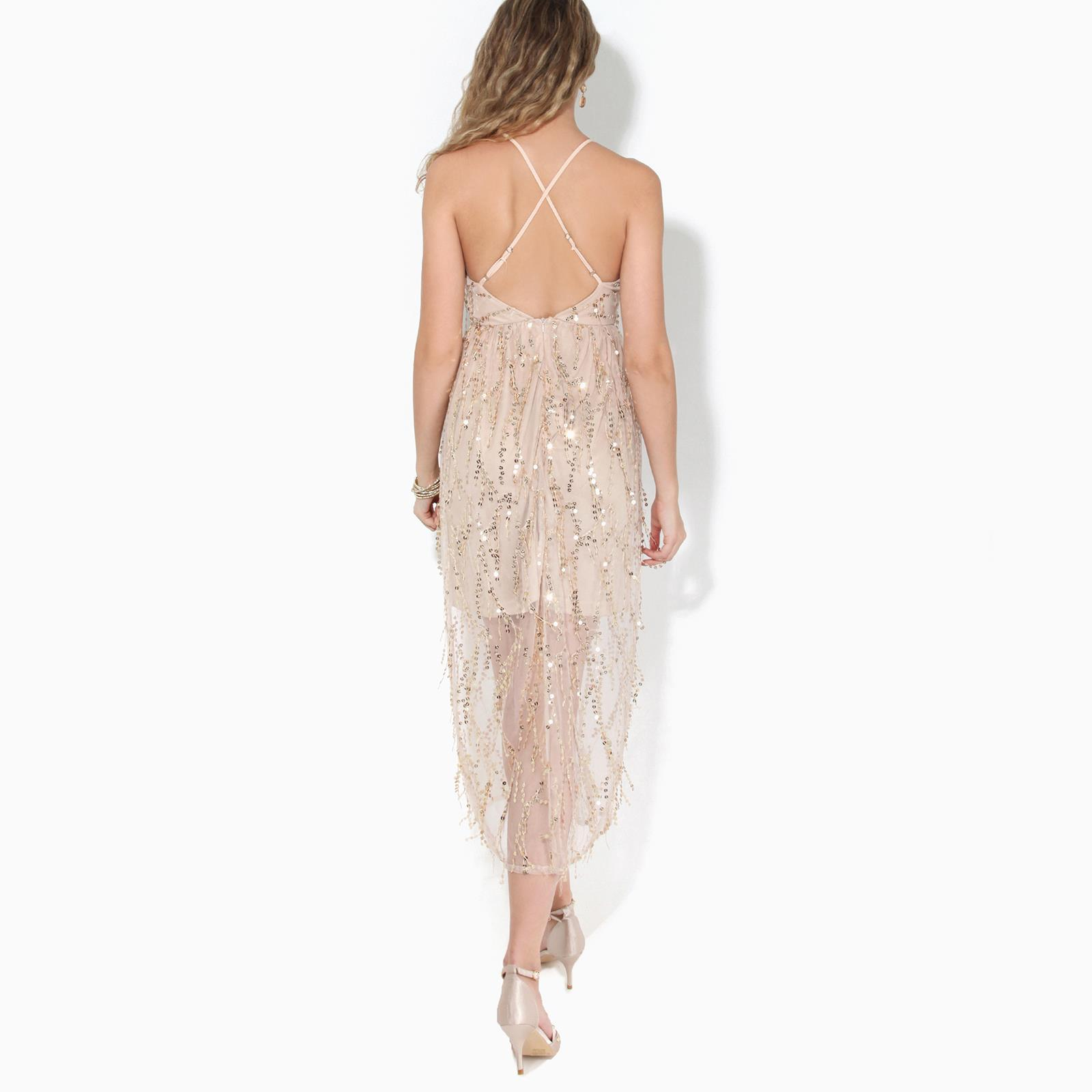 Womens-Ladies-Sequin-Dress-Midi-Party-Mesh-Fringe-Strappy-Evening-Backless thumbnail 4