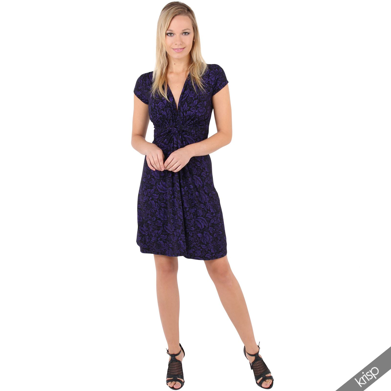 Womens-Ladies-V-Neck-Mini-Midi-Dress-Floral-Print-Knot-Short-Skirt-Party-Casual thumbnail 15