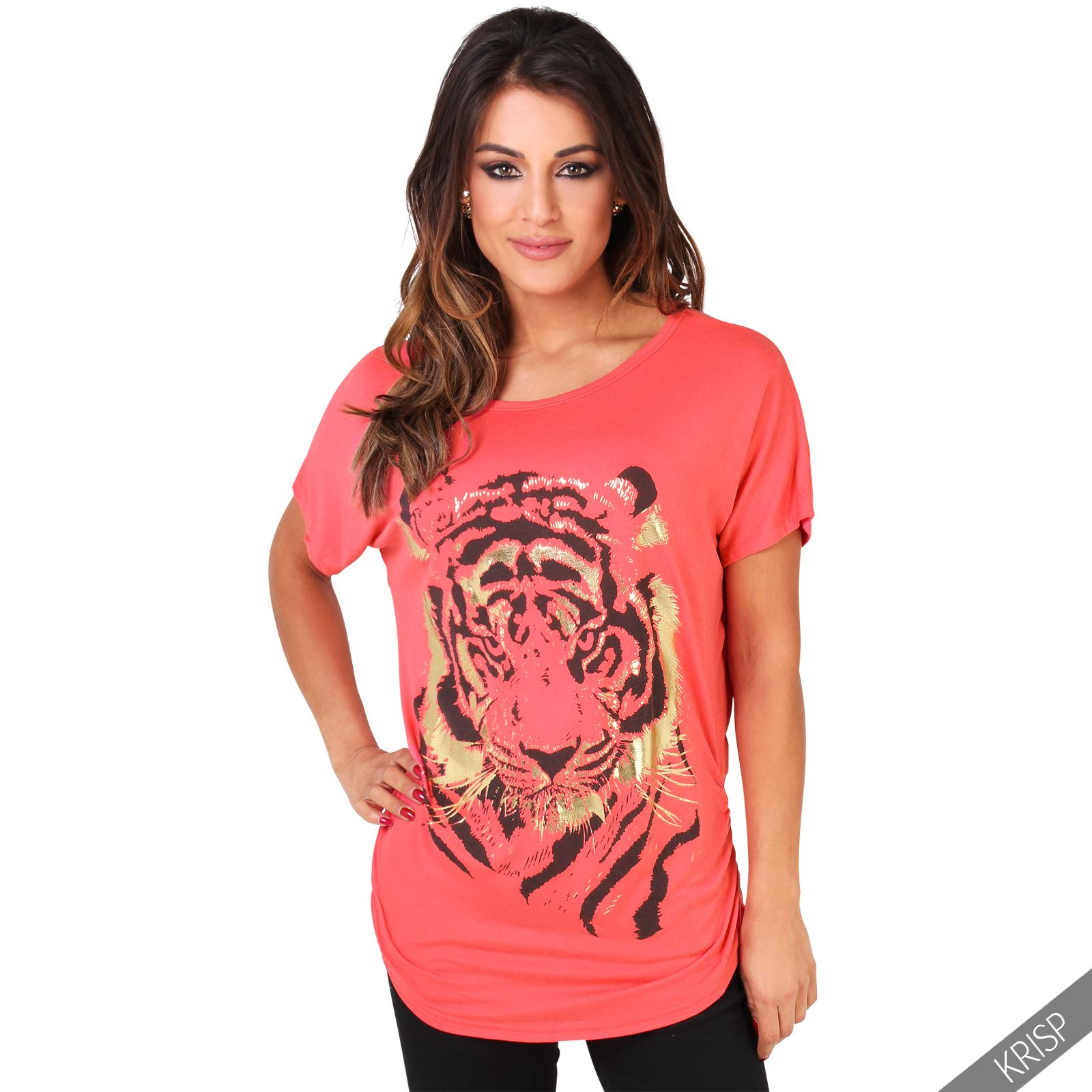 Womens-Oversized-Batwing-T-Shirt-Ladies-Baggy-Animal-Tiger-Blouse-Print-Top thumbnail 7
