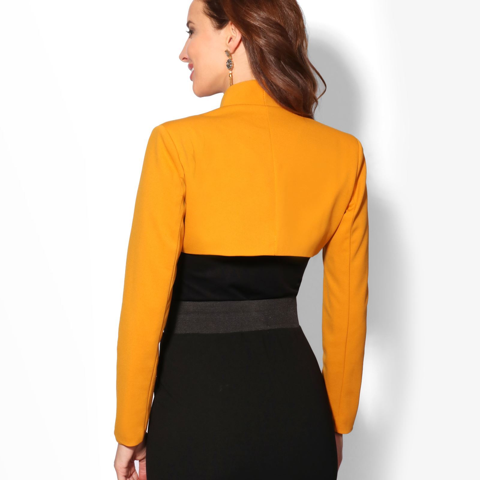 Femmes-Veste-Courte-Bolero-Blazer-Jacket-Manche-3-4-Gilet-Cardigan-Cache-Epaule miniature 7