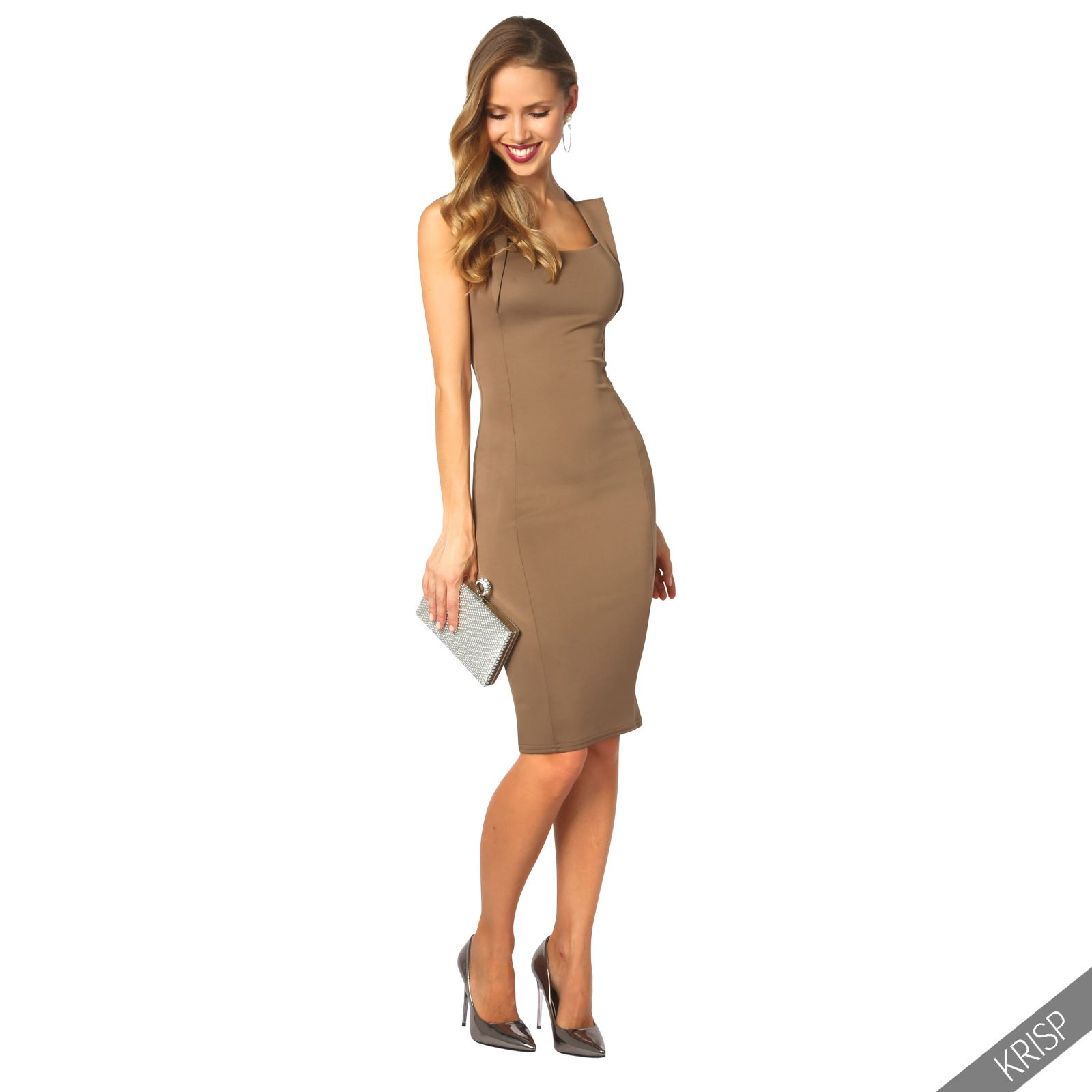 Womens-Pencil-Midi-Bodycon-Dress-Square-Neck-Panelled-Sexy-Zip-Party-Evening thumbnail 12