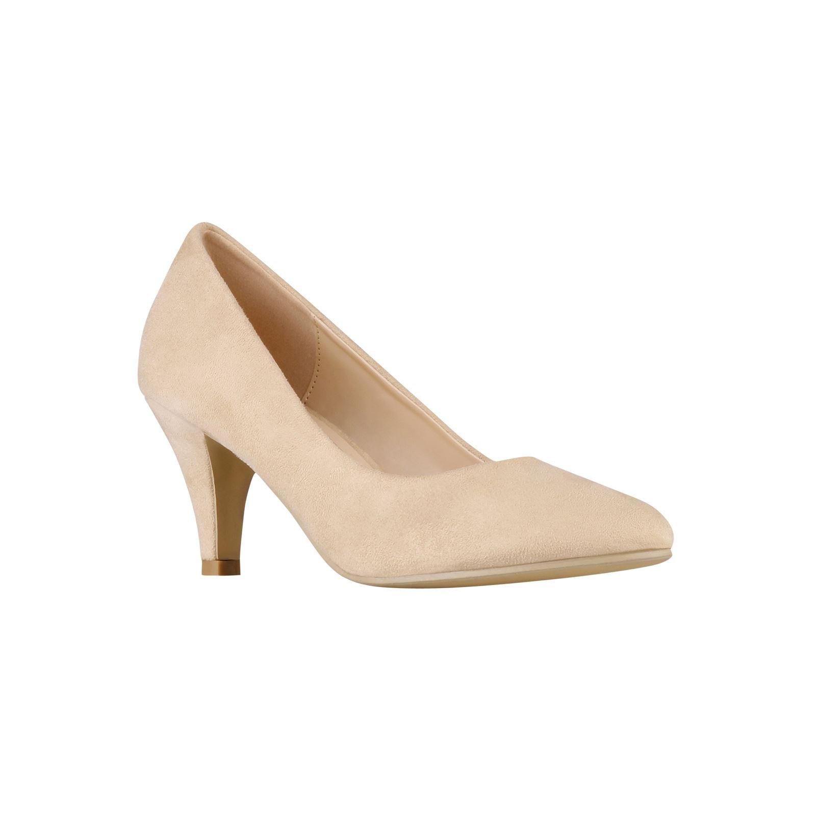 Womens-Ladies-Mid-Heel-Court-Shoes-Slip-On-Low-Kitten-Heels-Pumps-Matte-Size-3-8 thumbnail 3