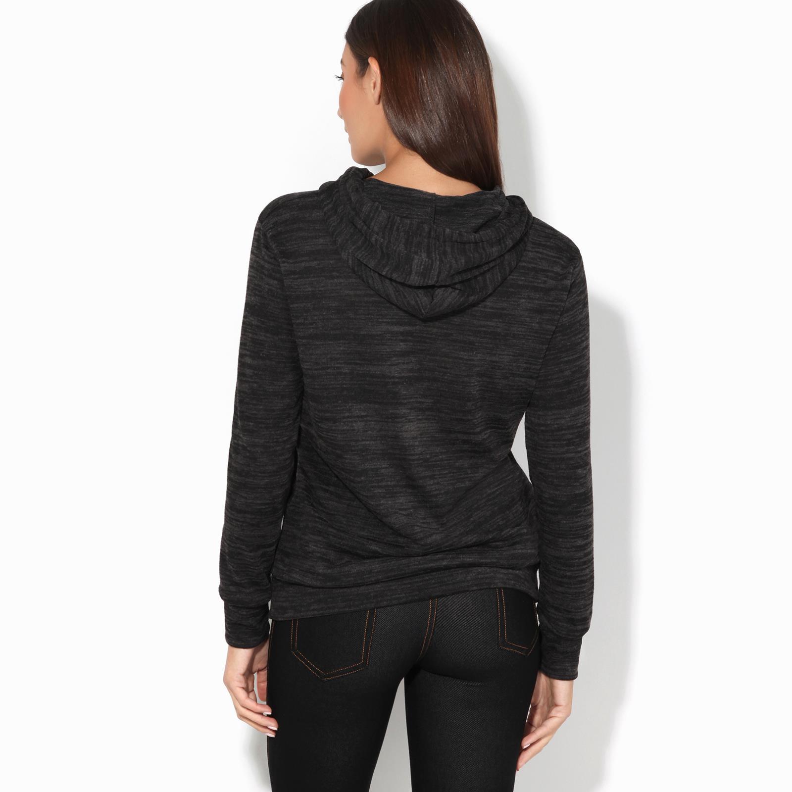 Womens-Soft-Marl-Knit-Hoodie-Hooded-Loose-Baggy-Jumper-Sweater-Top-Sweatshirt thumbnail 3