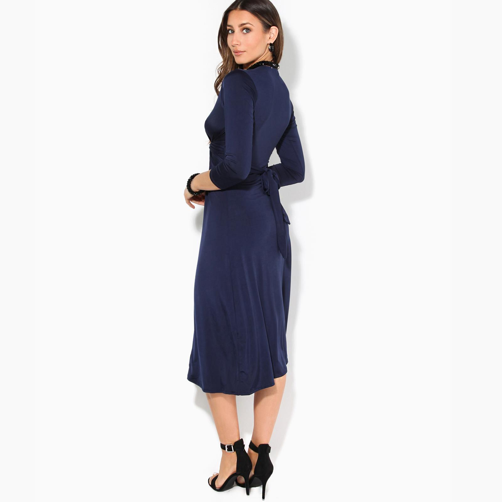 Women-Ladies-V-Neck-Midi-Dress-Knee-Long-A-Line-Skirt-3-4-Sleeve-Knot-Party-Work thumbnail 7