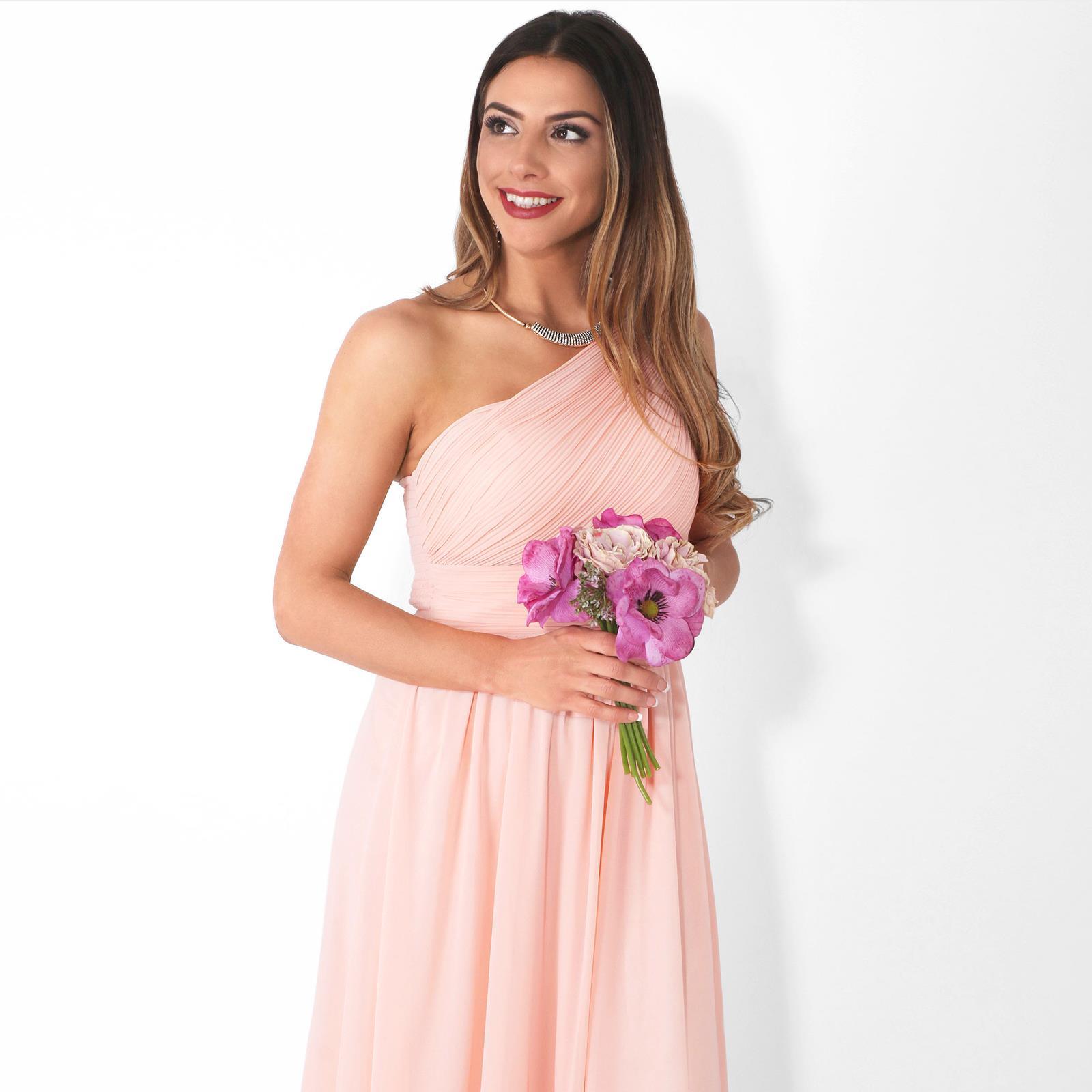 Womens-Wedding-Bridesmaid-Prom-Dress-Formal-One-Off-Shoulder-Long-Evening-8-18 thumbnail 49