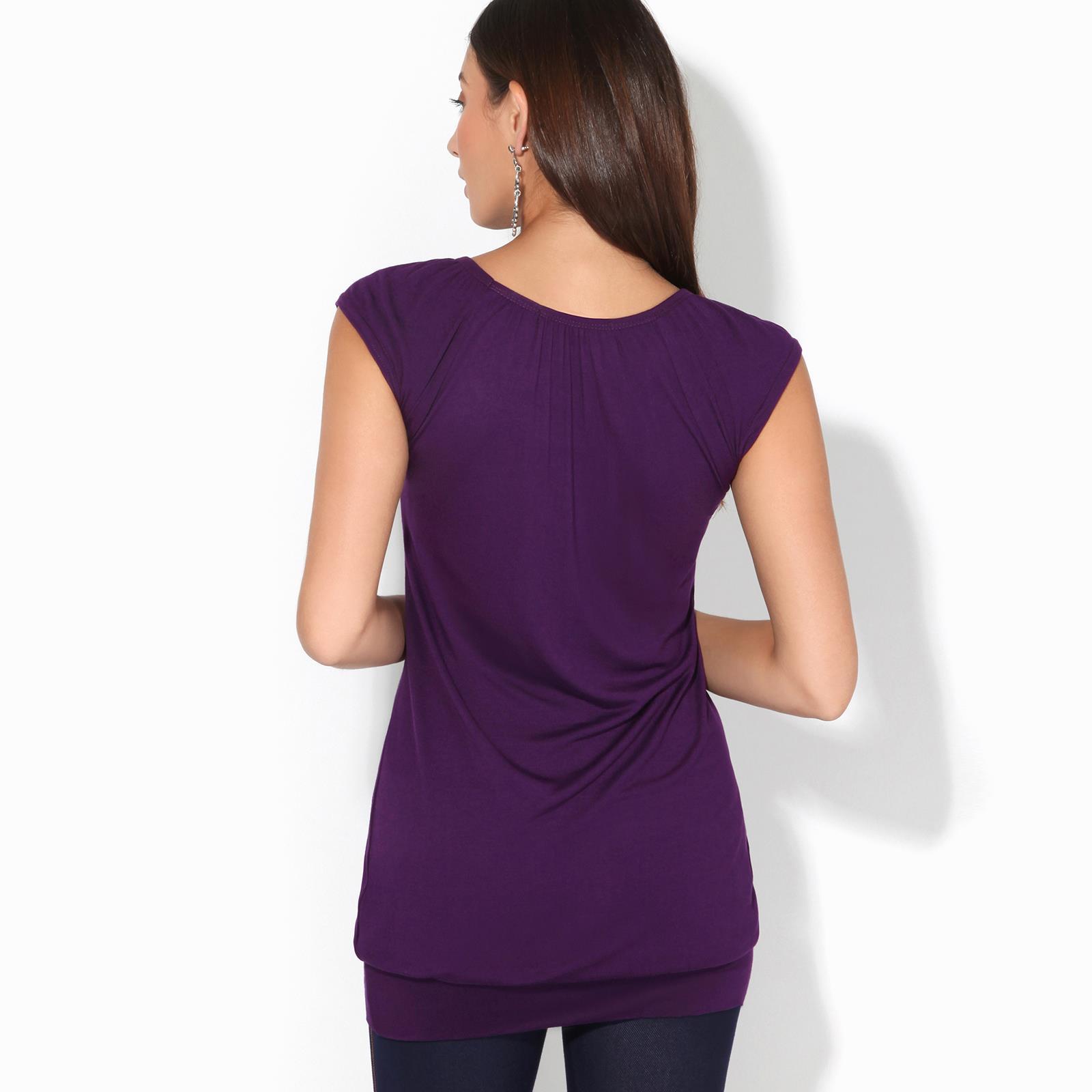 Womens-Ladies-Scoop-Neck-Blouse-V-T-Shirt-Long-Short-Sleeve-Plain-Loose-Top thumbnail 38