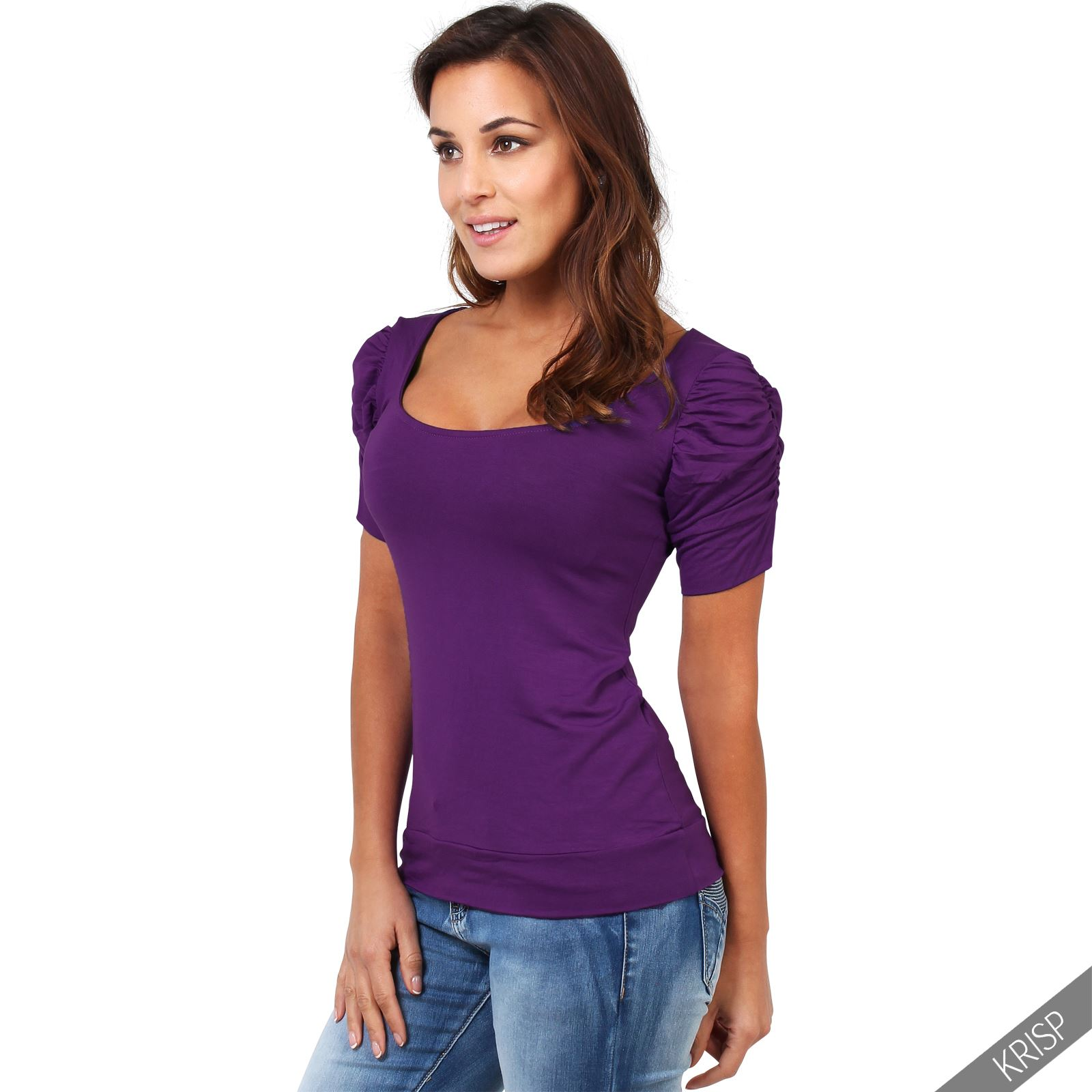 Womens-Ladies-Long-Blouse-Ruched-Pleated-Sleeve-Stretch-Jersey-Plunge-Top-Tshirt thumbnail 24
