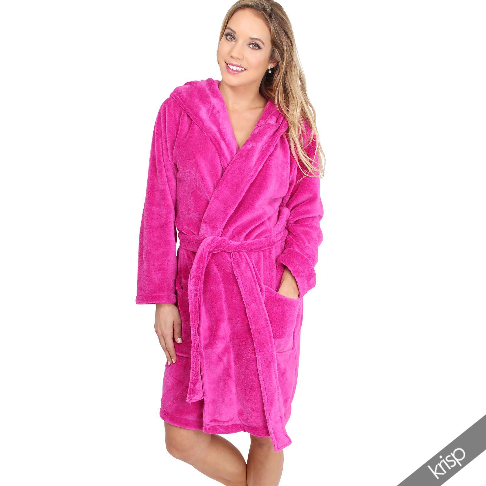 Womens Soft Plain Basic Dressing Gown Hooded Bath Robe Nightwear ...