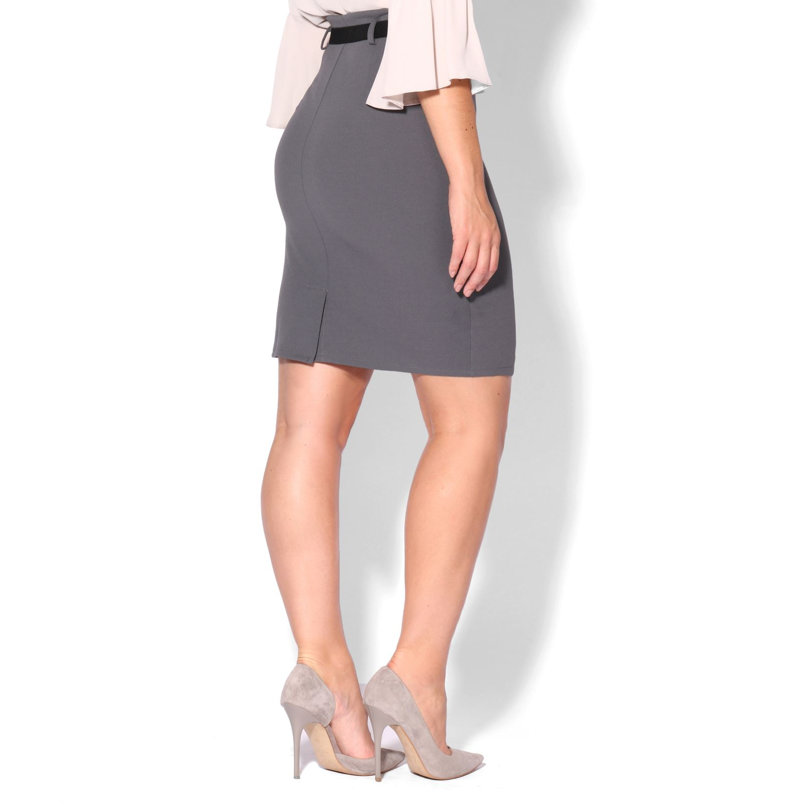Womens Ladies Belted Fitted Stretch Pencil Midi Skirt ...
