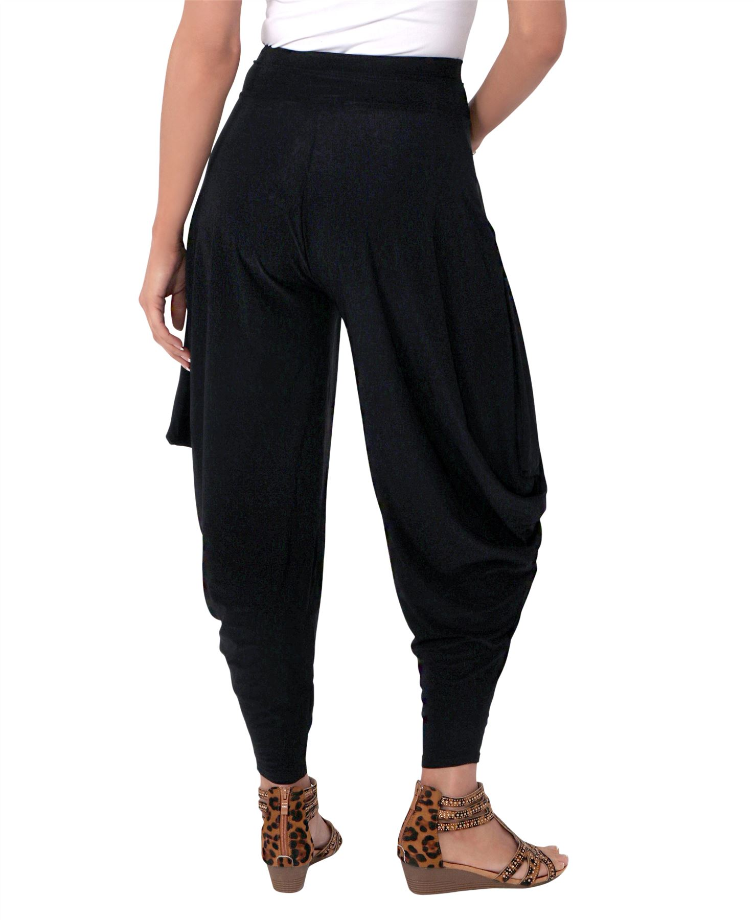 Details about Womens Harem Pants Ali Baba Leggings Boho Trousers Genie Wide Flared Summer