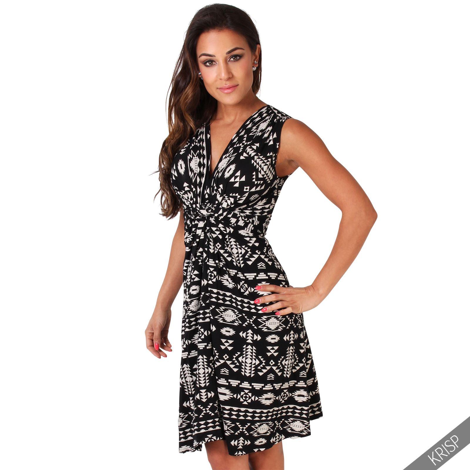 Womens-V-Neck-Mini-Dress-Small-Sizes-Short-Skirt-Tribal-Print-Front-Knot-Party thumbnail 15