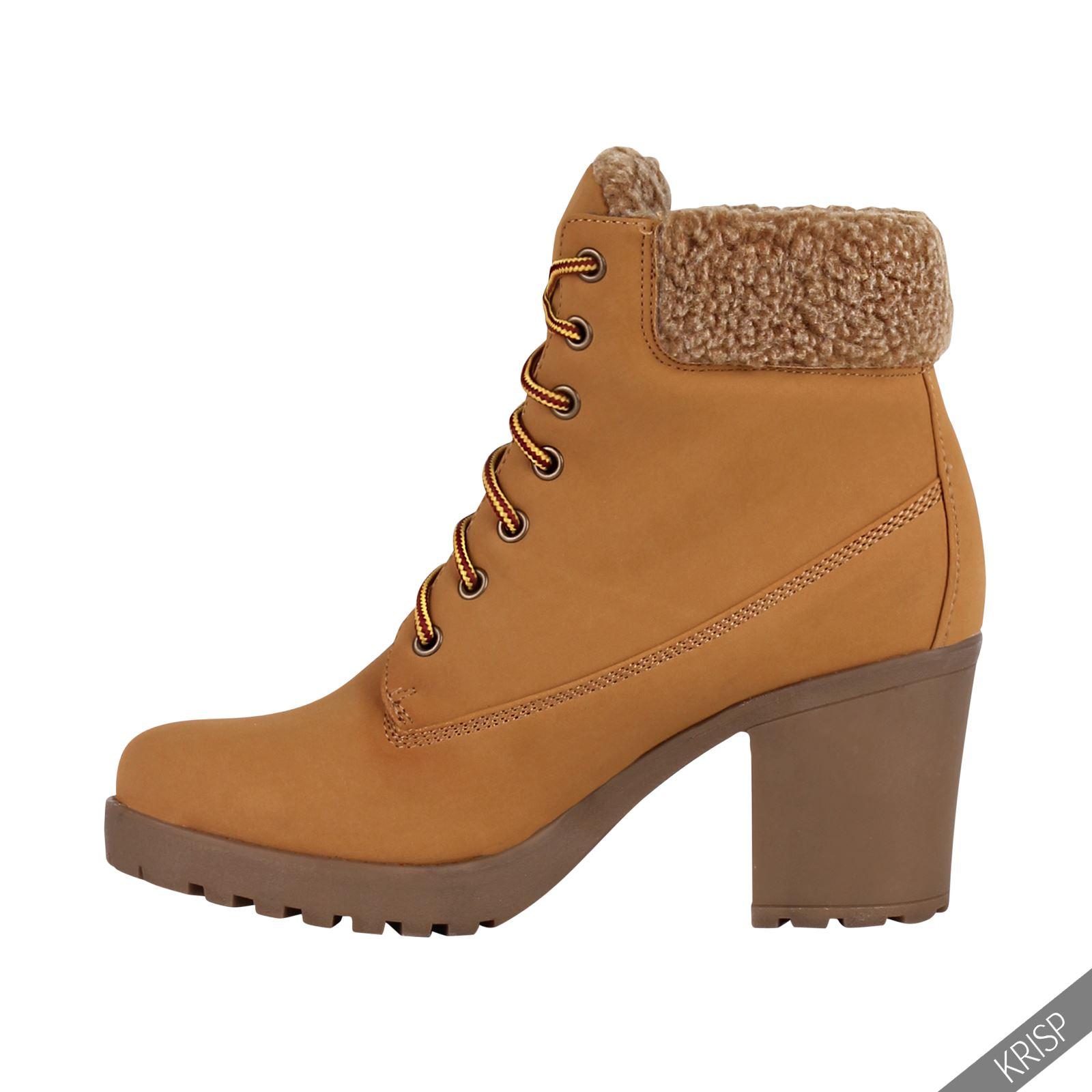 Botines-Mujer-Camel-Bota-Plana-Suela-Goma-Cordones-Casual-Otono-Invierno-Tacon miniatura 25