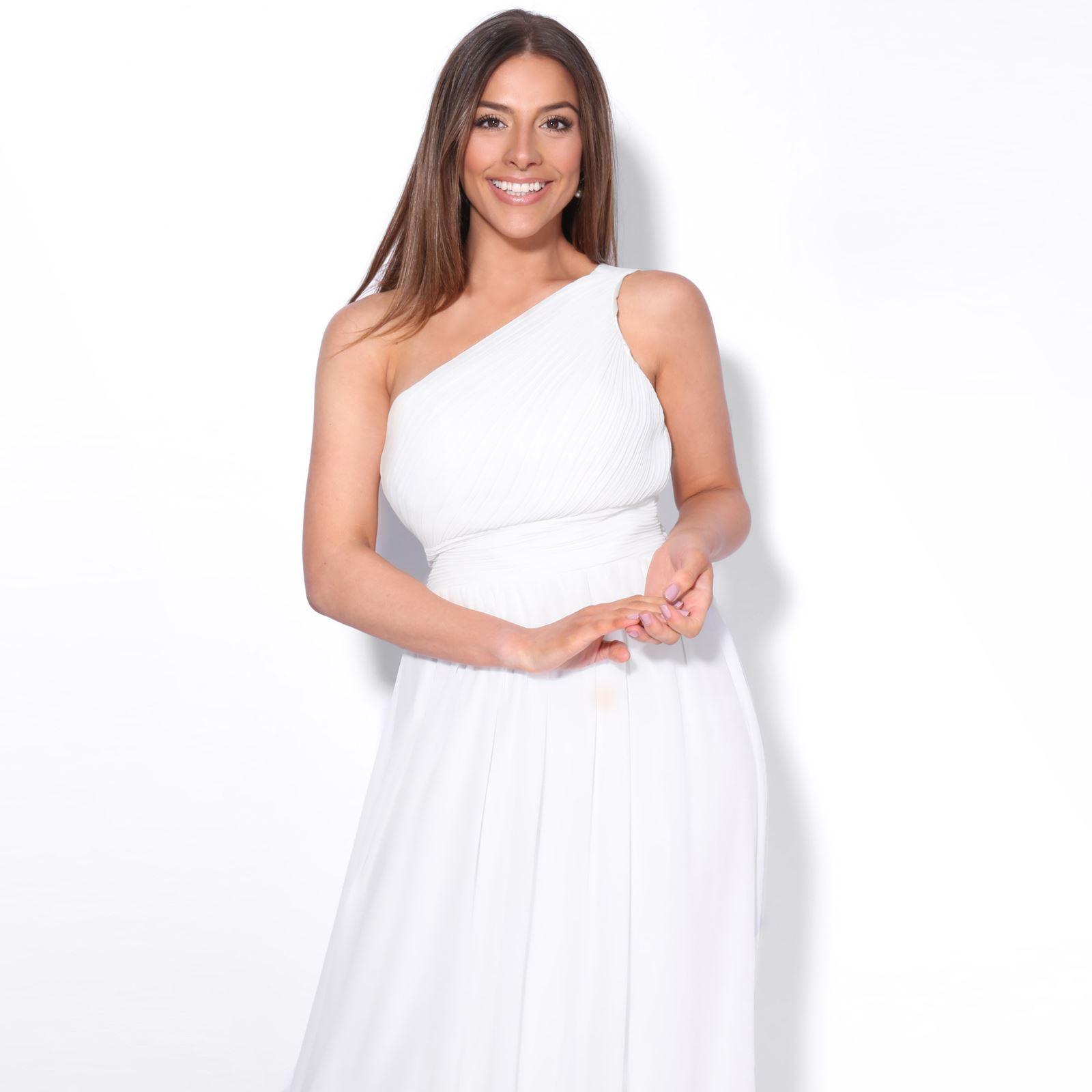 Womens-Wedding-Bridesmaid-Prom-Dress-Formal-One-Off-Shoulder-Long-Evening-8-18 thumbnail 78